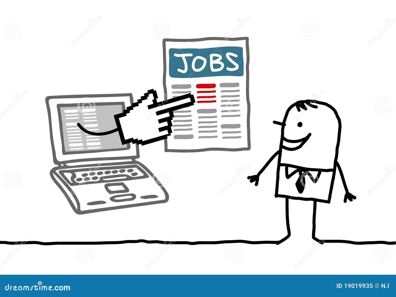 Hombre con la computadora portátil que busca un trabajo