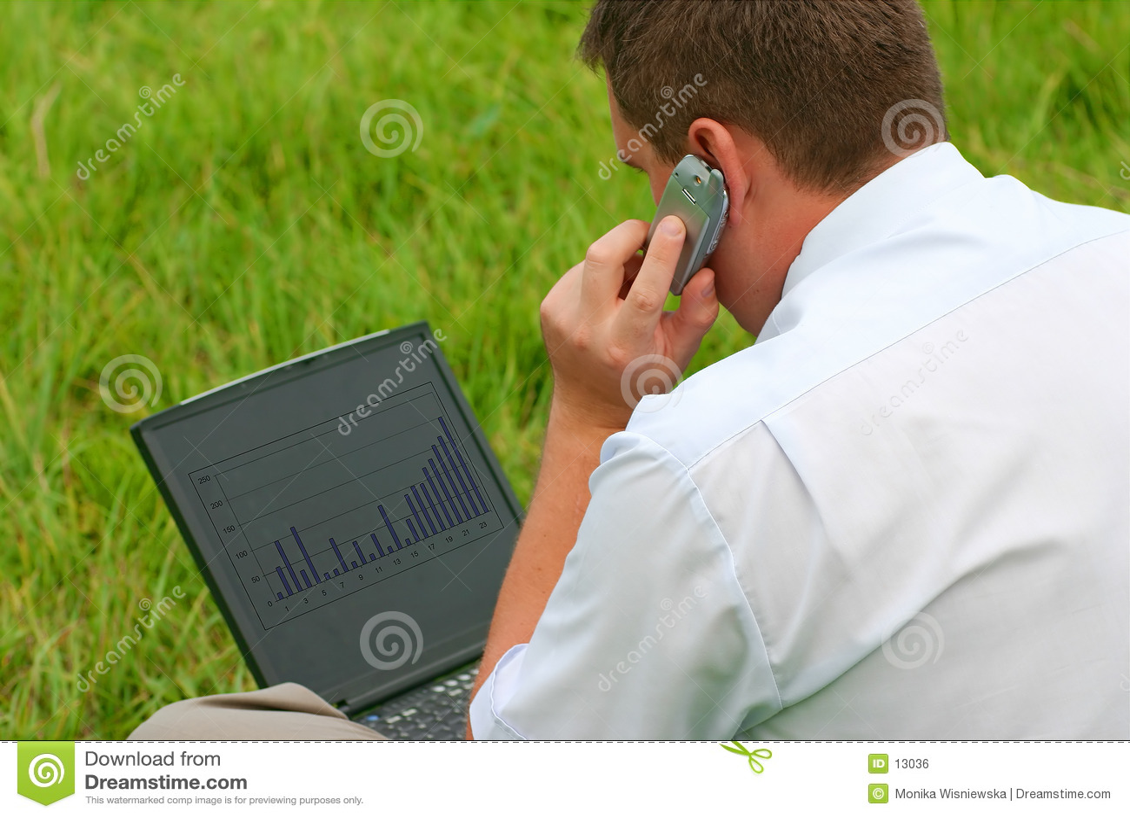 Hombre con la computadora portátil que se sienta en hierba