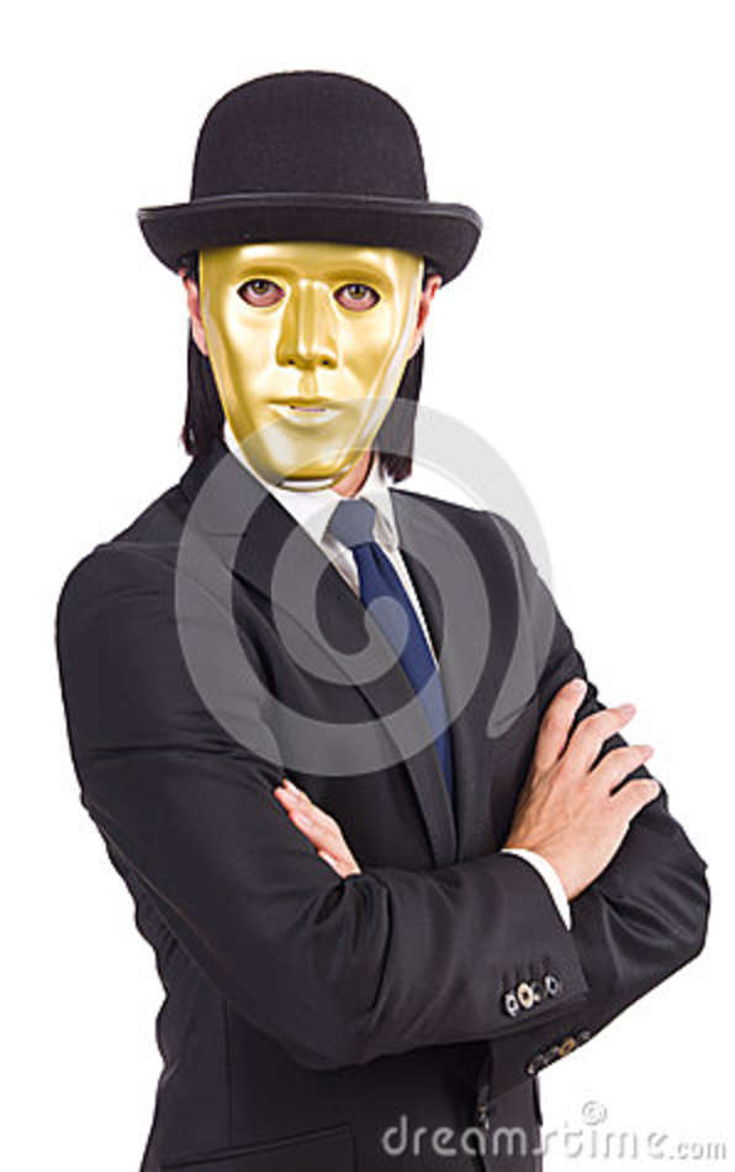Hombre con la máscara aislada