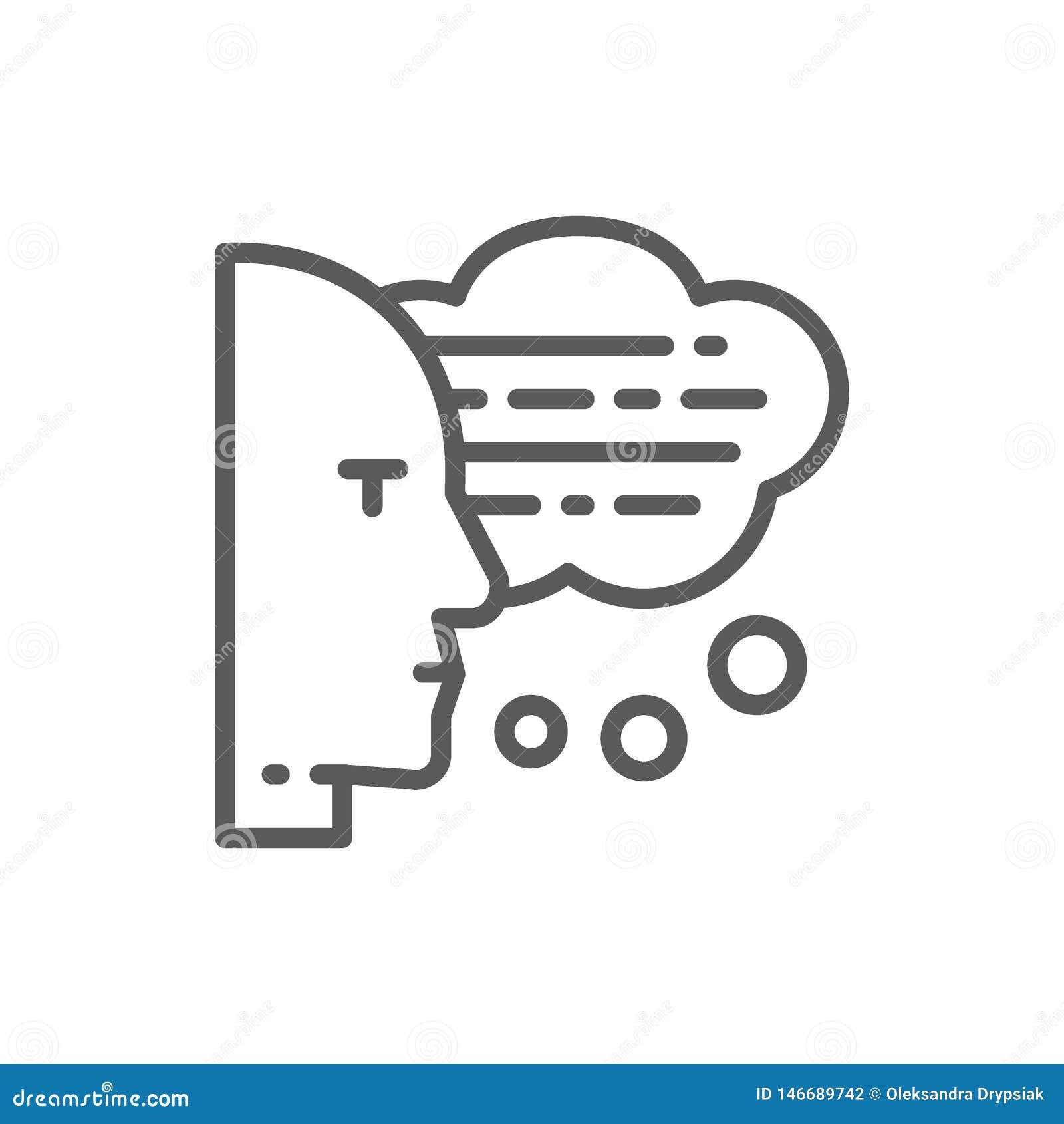 Hombre con las burbujas del discurso, pensamientos, conversación, línea icono del reconocimiento vocal