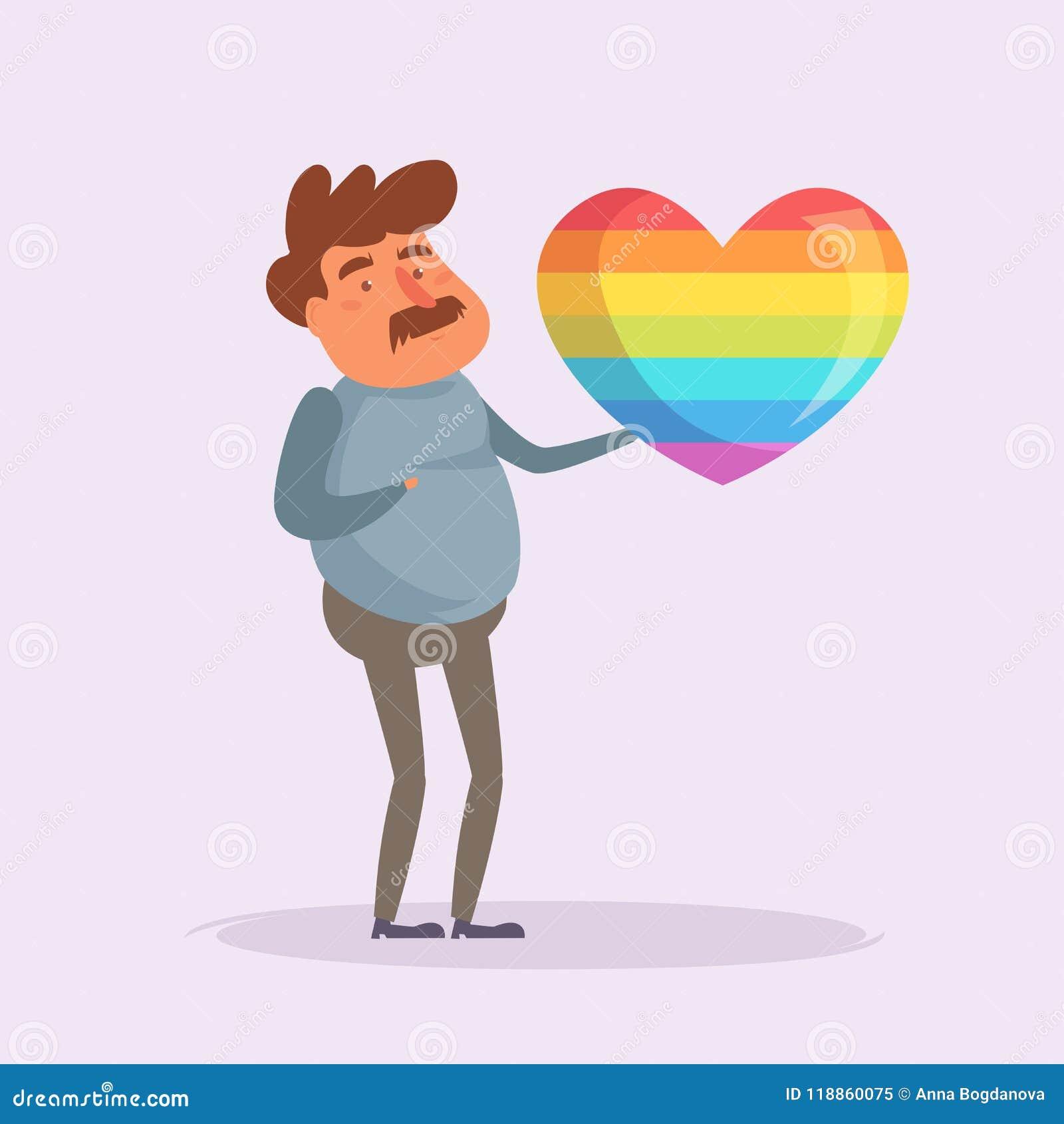 Hombre con un corazón del arco iris