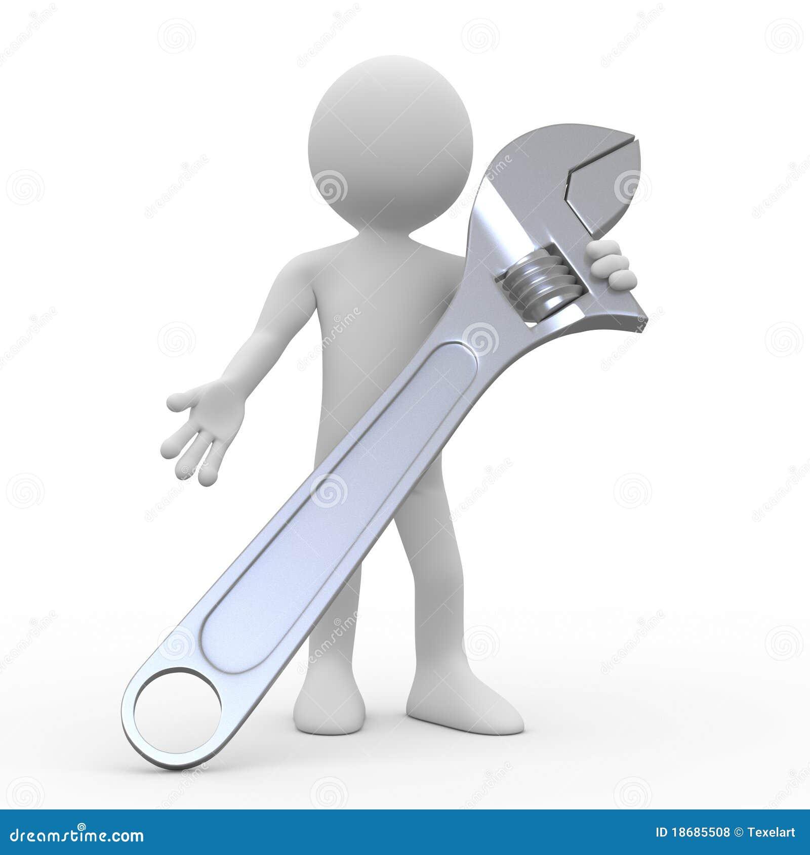 Hombre con una llave inglesa ajustable enorme