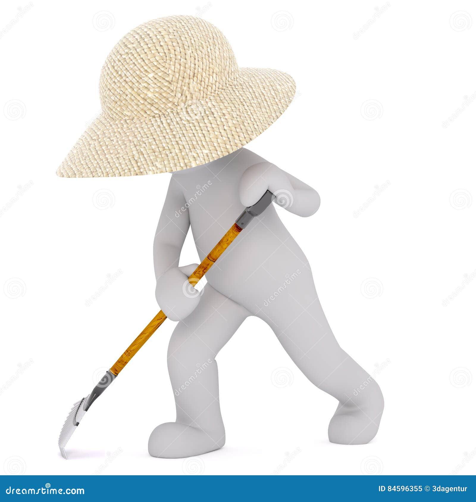 Hombre 3D con el rastrillo de la hoja