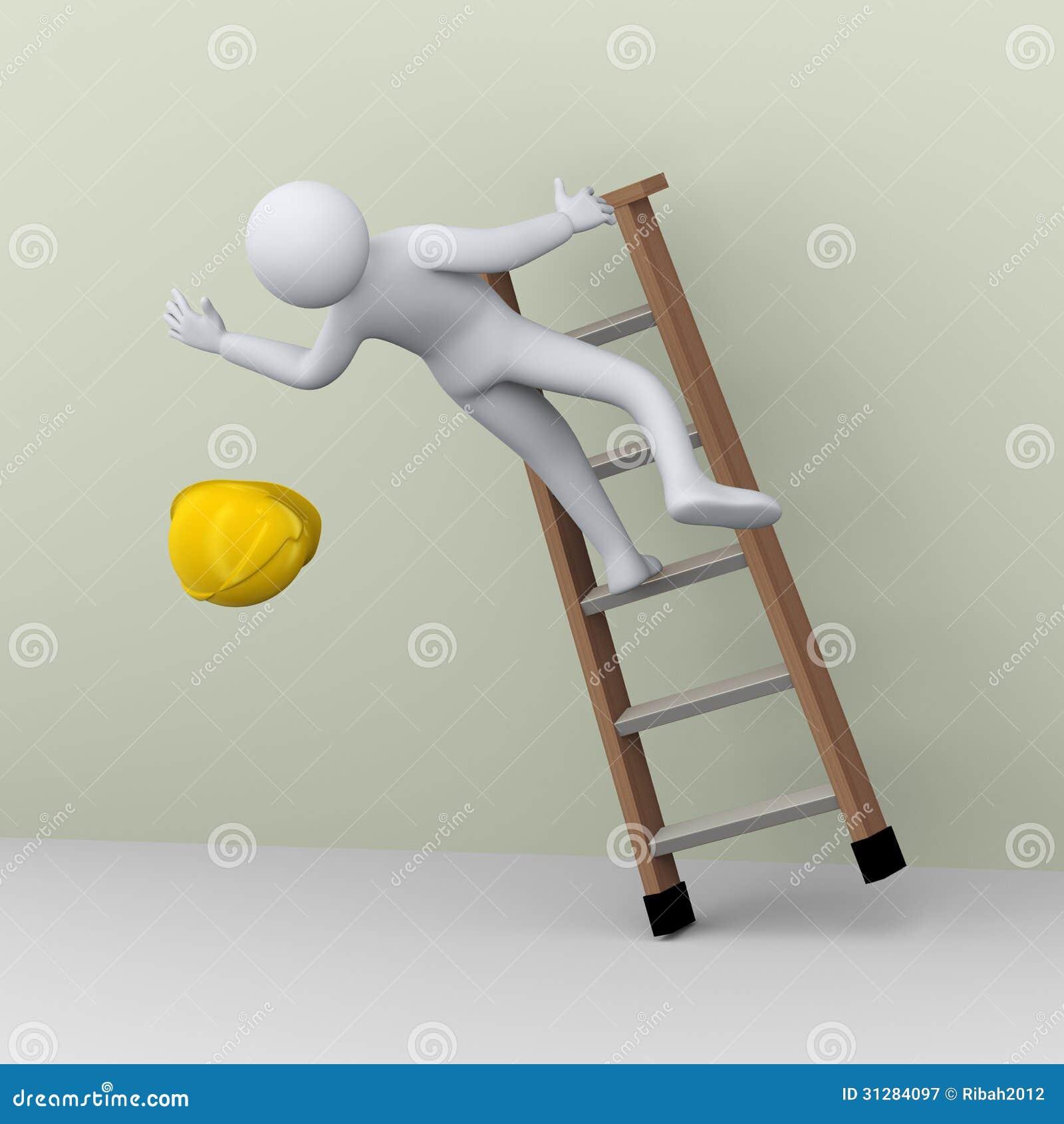 Hombre 3d que cae de escalera durante trabajo stock de for Escaleras de trabajo