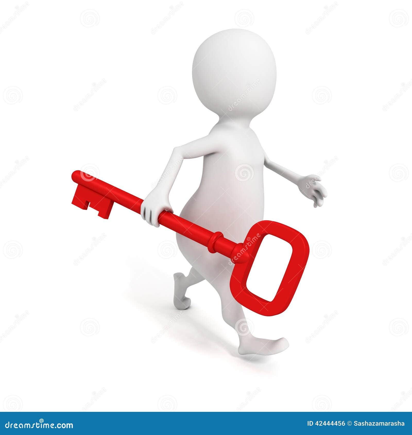 Hombre 3D que camina adelante con llave roja