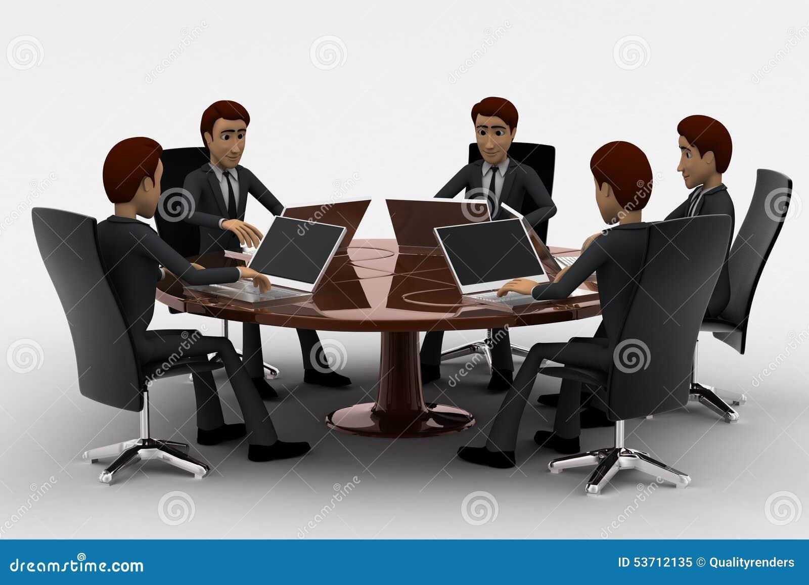 Foto de archivo libre de regal as 3d man doing meeting on - Que es mesa redonda ...
