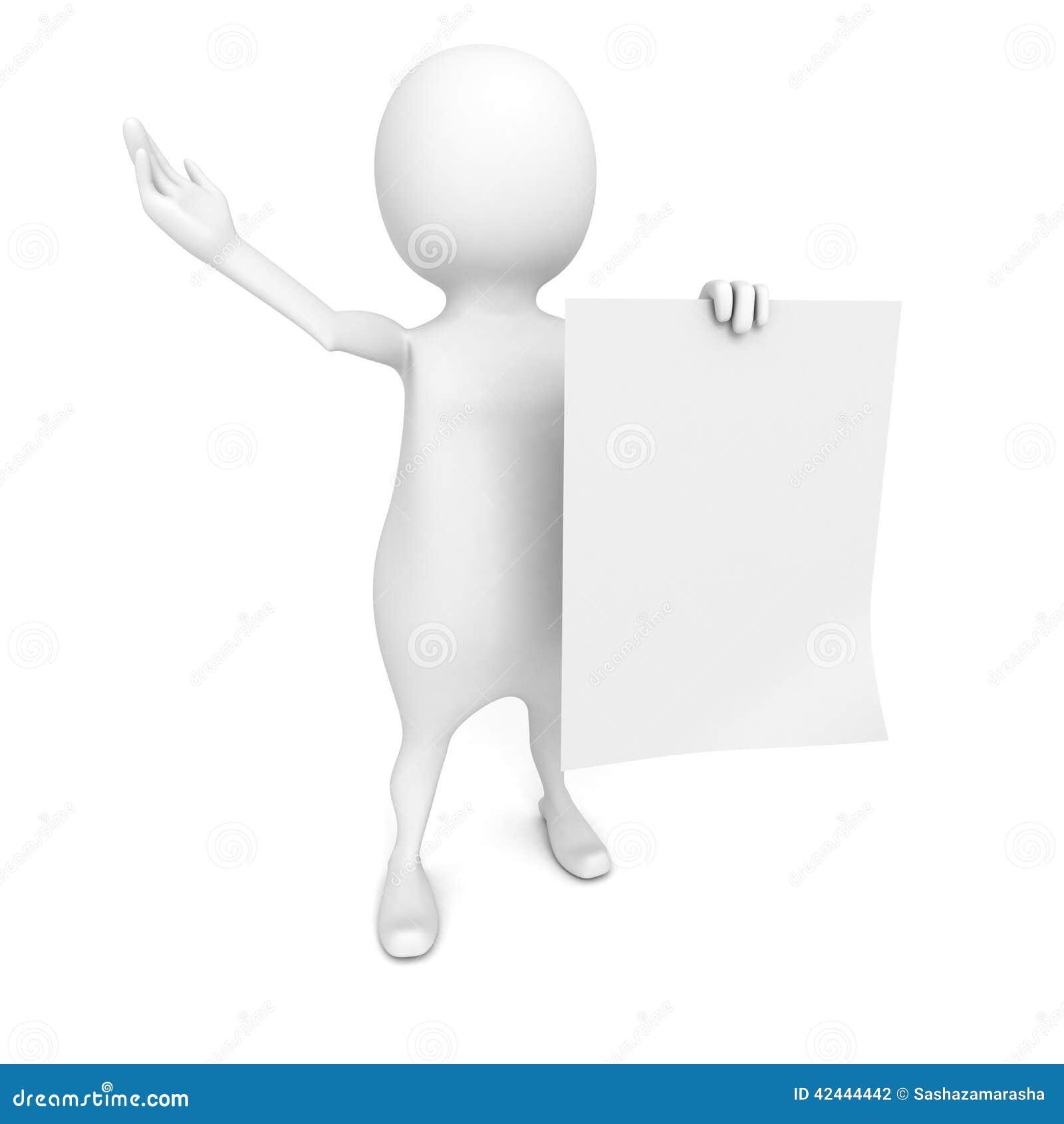 Hombre 3d que muestra el documento en blanco sobre el fondo blanco