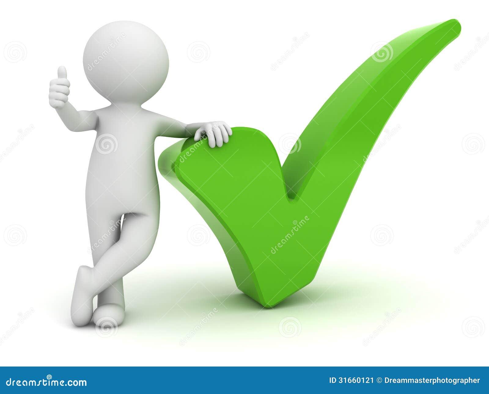 Hombre 3d que muestra los pulgares para arriba con la marca de verificación verde sobre blanco