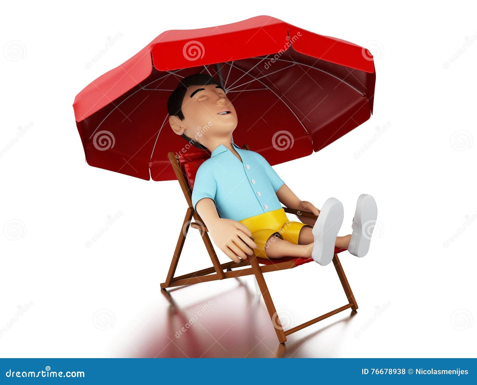 Hombre 3d Relajado En Una Silla De Playa Stock de ilustración ... c937da4e273a