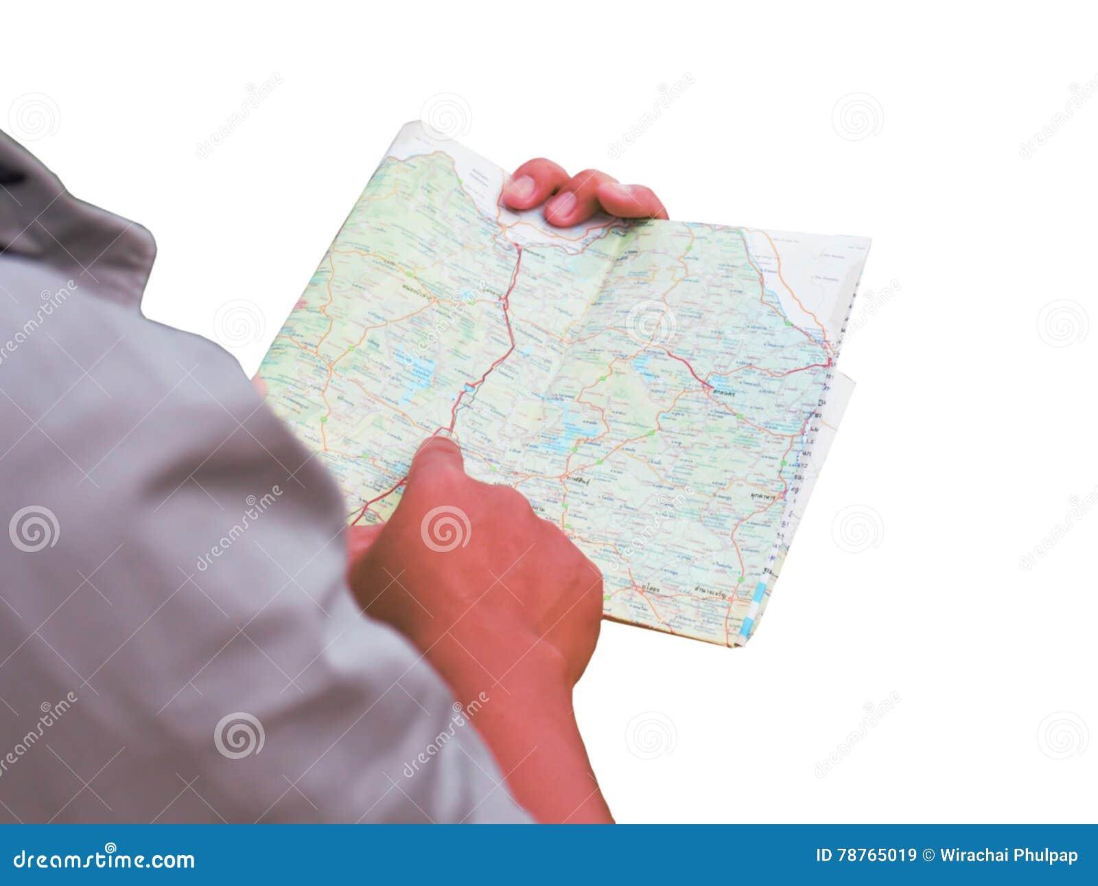Hombre de Asia que se coloca con el mapa