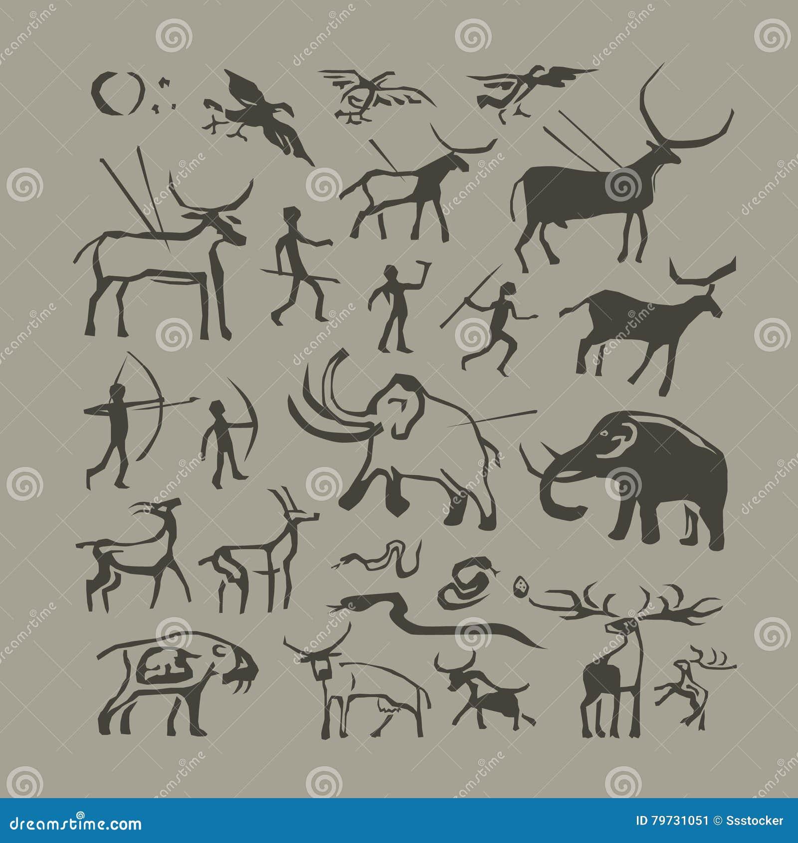 Hombre de cueva y pintura de la roca de los animales