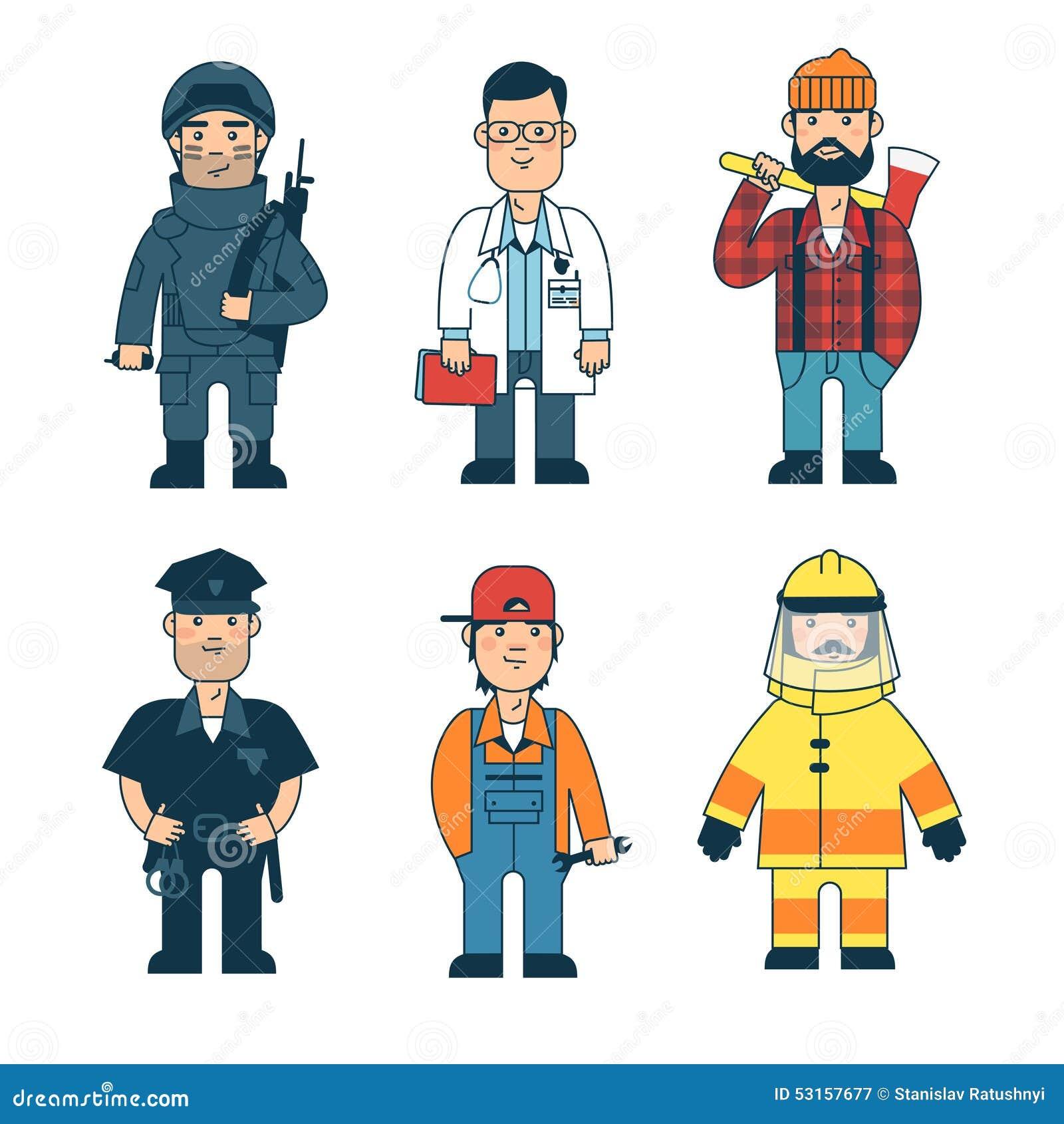 Hombre De Diversas Profesiones Conjunto Ilustración Del Vector