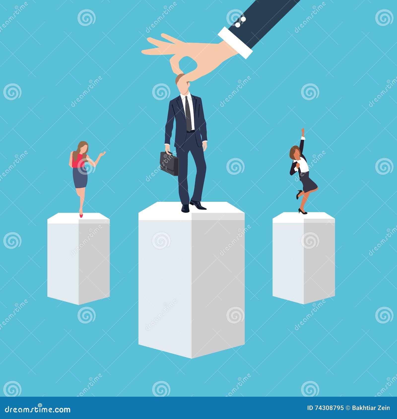 Hombre de la derecha del trabajador del empleado de la gestión de negocio en el candidato selecto de la posición del lugar durant