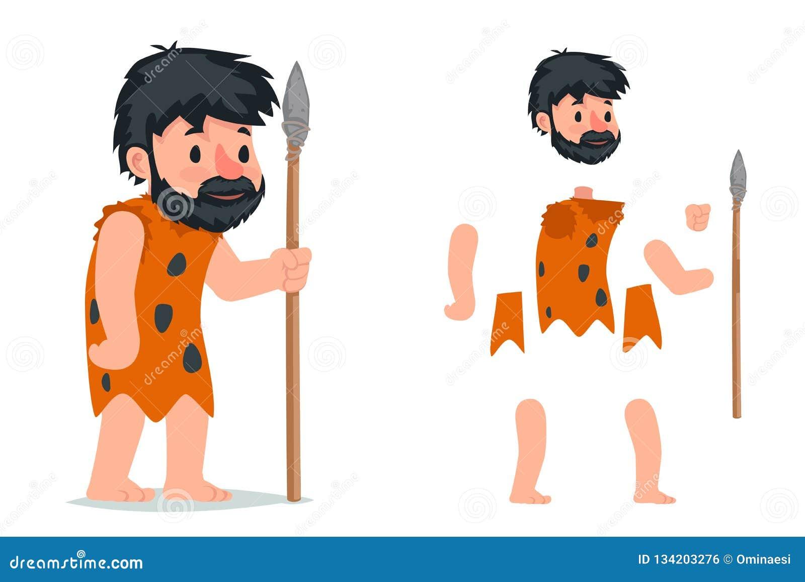 Hombre de las cavernas antiguo con el ejemplo listo acodado carácter de piedra del vector del carácter de la animación del juego