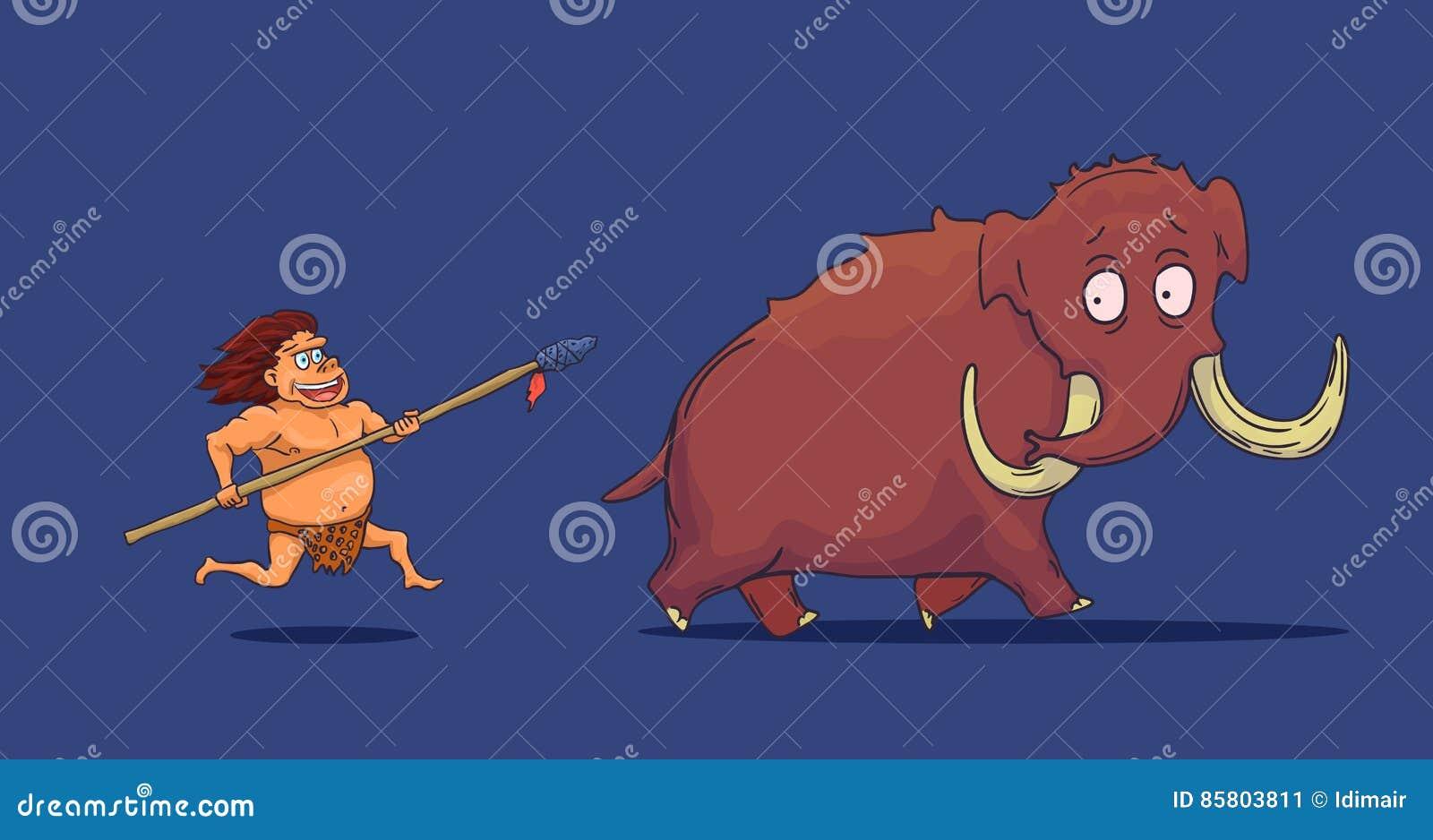 Hombre de las cavernas de la historieta con la lanza que caza el mamut Vector