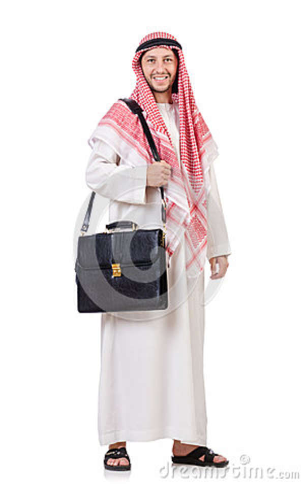 Hombre de negocios árabe con la cartera aislada