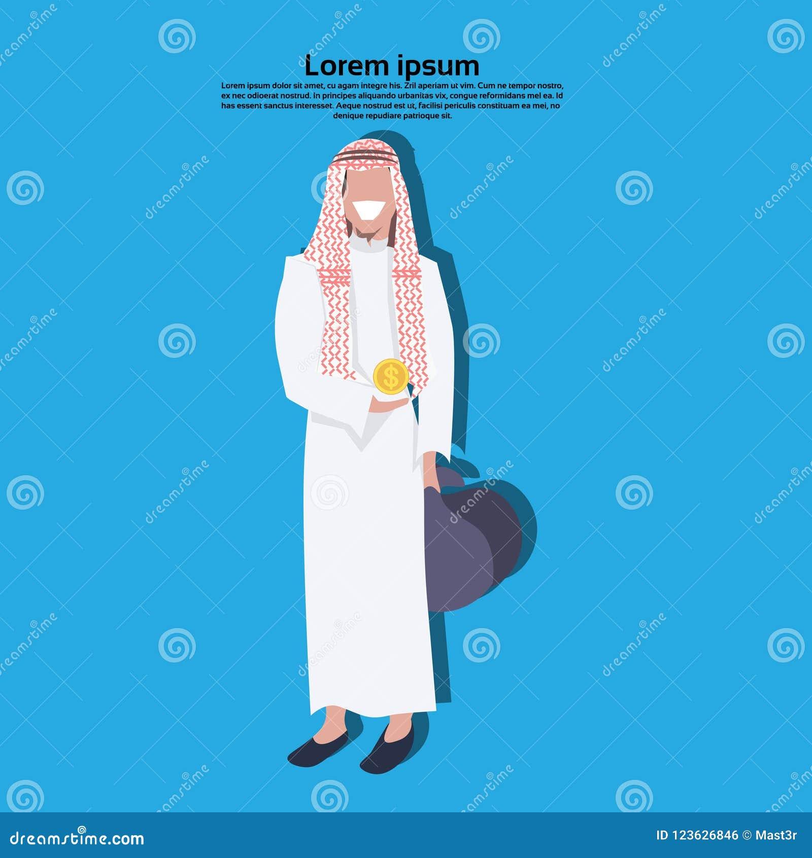 Hombre de negocios árabe que lleva a cabo el concepto de la riqueza del  crecimiento del bolso del dinero de la moneda del dólar que lleva el  ejemplo ... 69fcbeca023