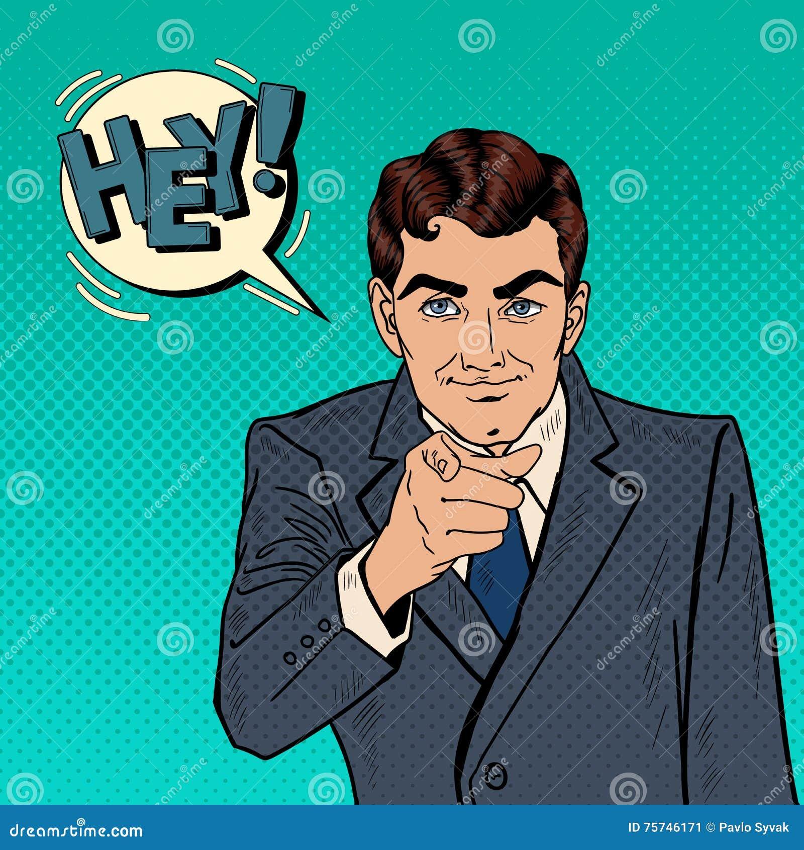 Hombre de negocios acertado Pointing Finger en usted Arte pop