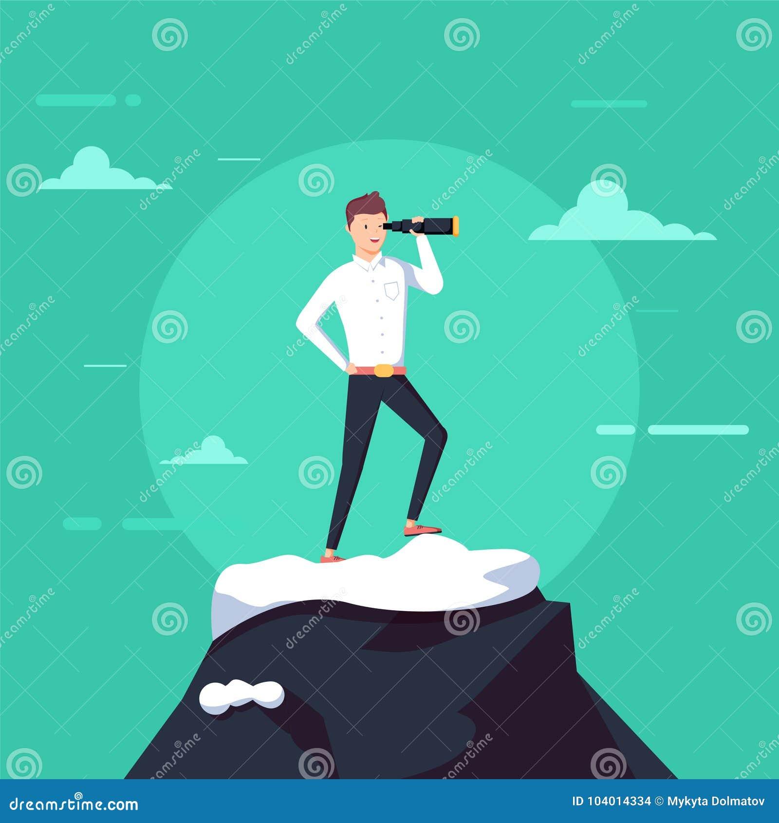 Hombre de negocios acertado que lleva a cabo el soporte del catalejo encima de la montaña Búsqueda para la nueva oportunidad de n