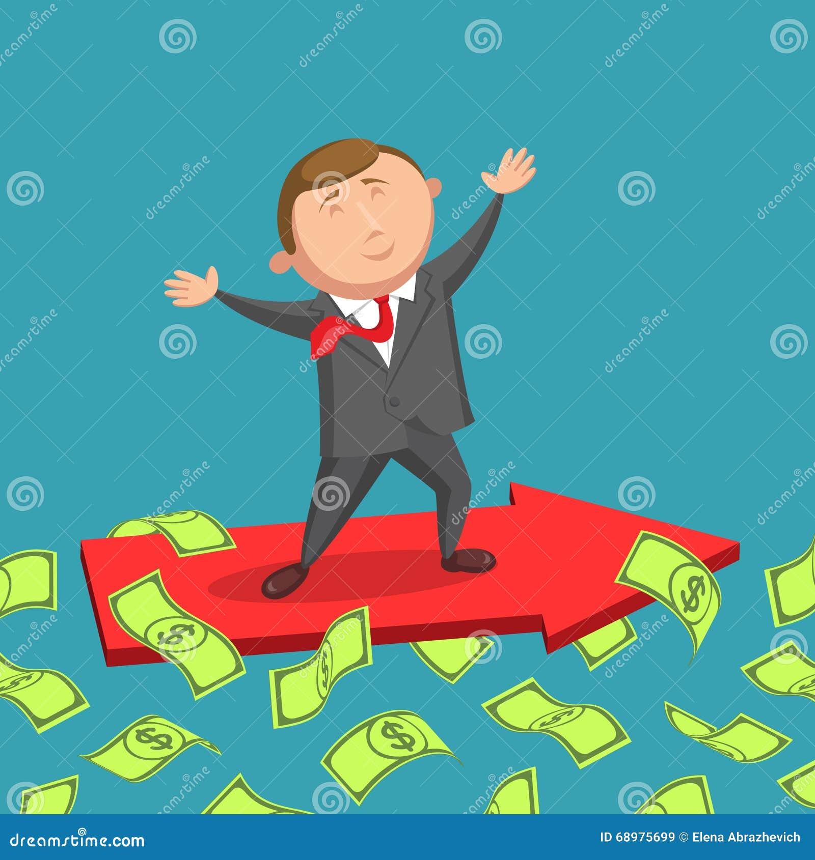Hombre de negocios alegre en el camino al éxito