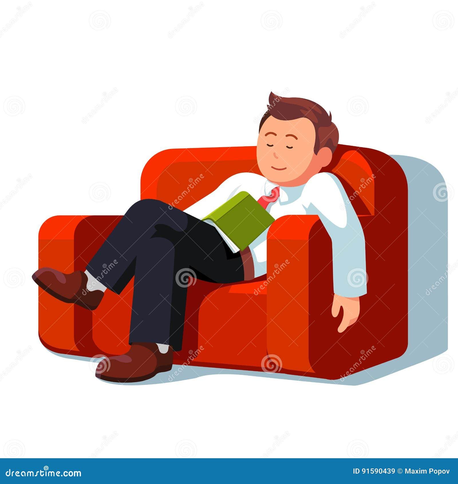 Hombre de negocios cansado que duerme durante tiempo de la rotura