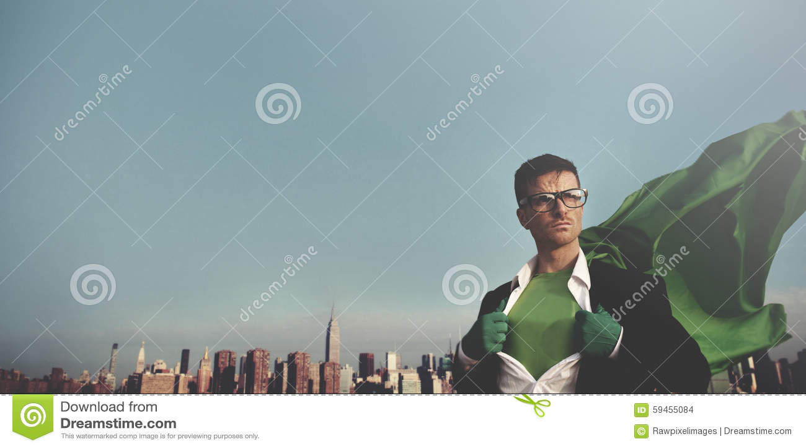 Hombre de negocios Cityscape Leadership Concept del super héroe