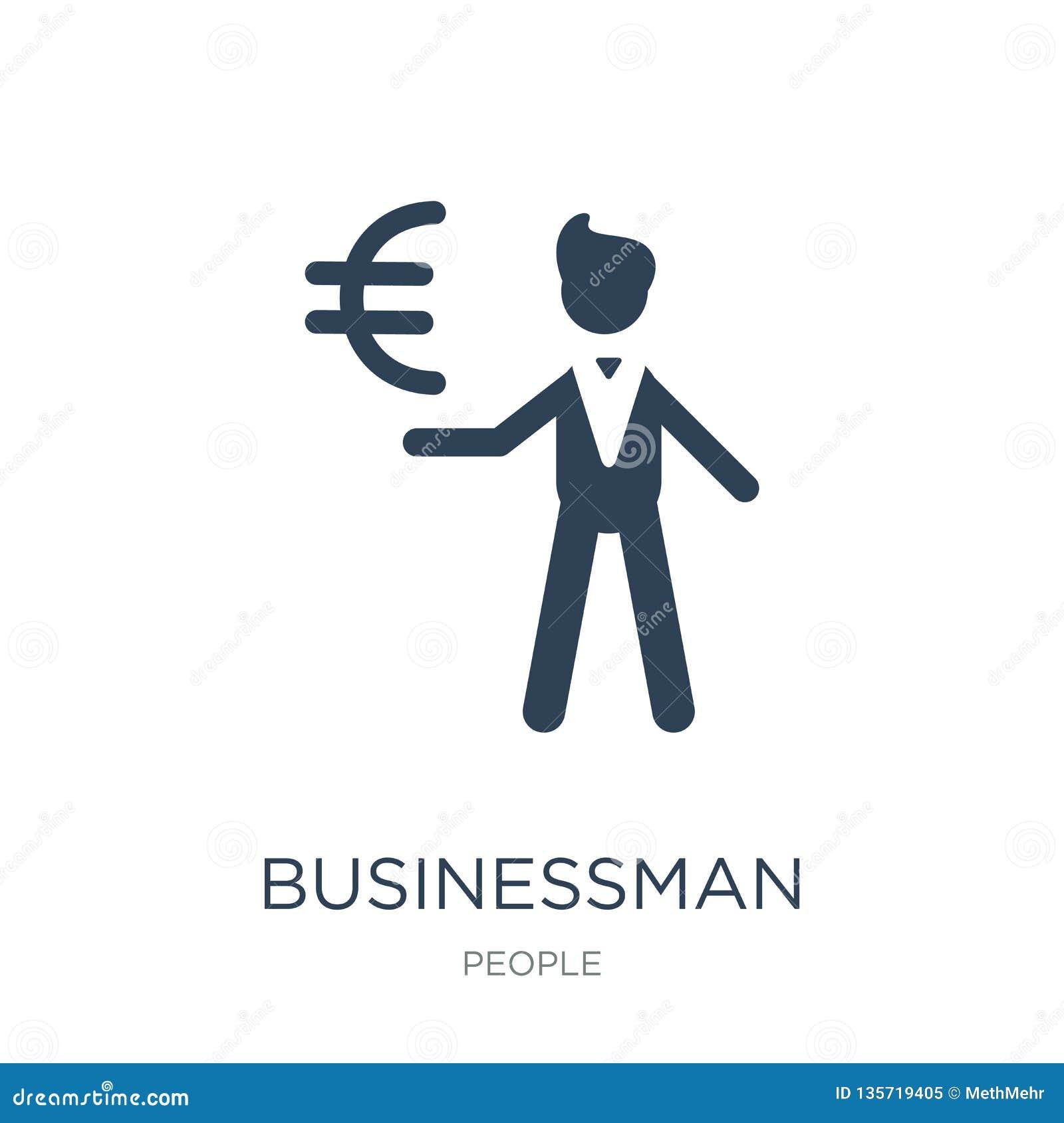 Hombre de negocios con el icono euro de la moneda en estilo de moda del diseño hombre de negocios con el icono euro de la moneda
