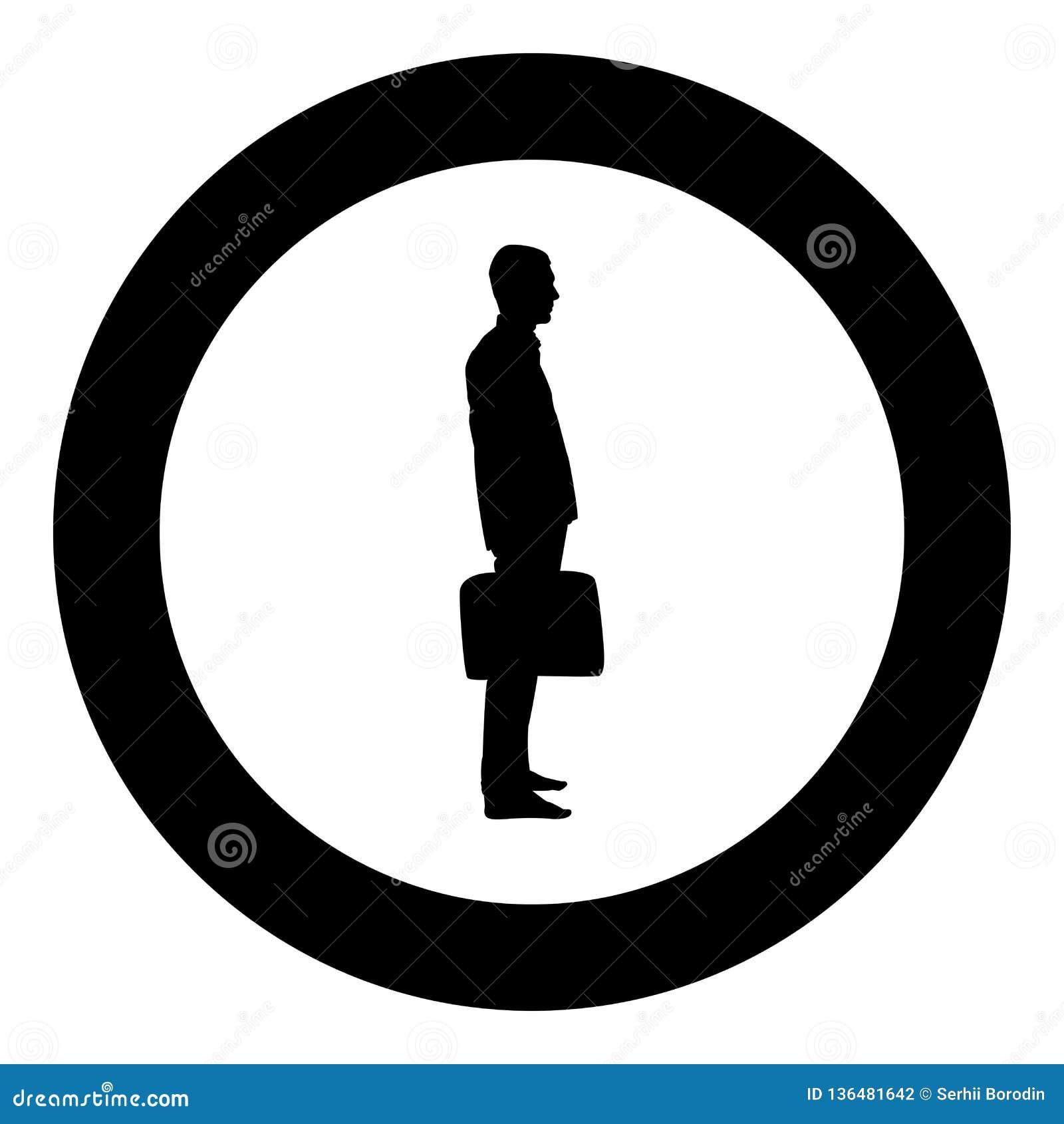 Hombre de negocios con el hombre de la situación de la cartera con un bolso del negocio en su ejemplo de color del negro del icon