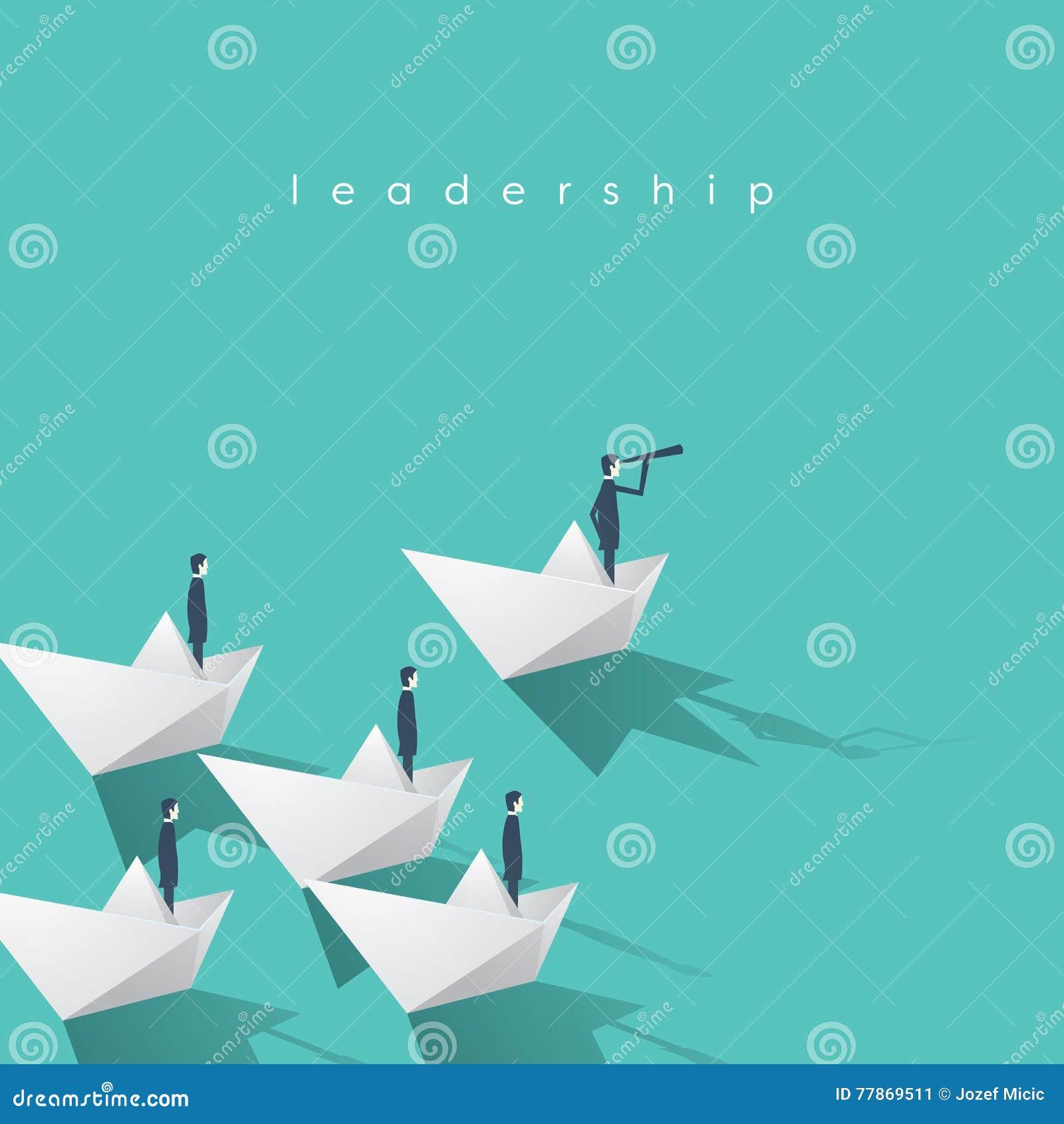 Hombre de negocios con el monóculo en el barco de papel como símbolo de la dirección del negocio Equipo principal visionario, con