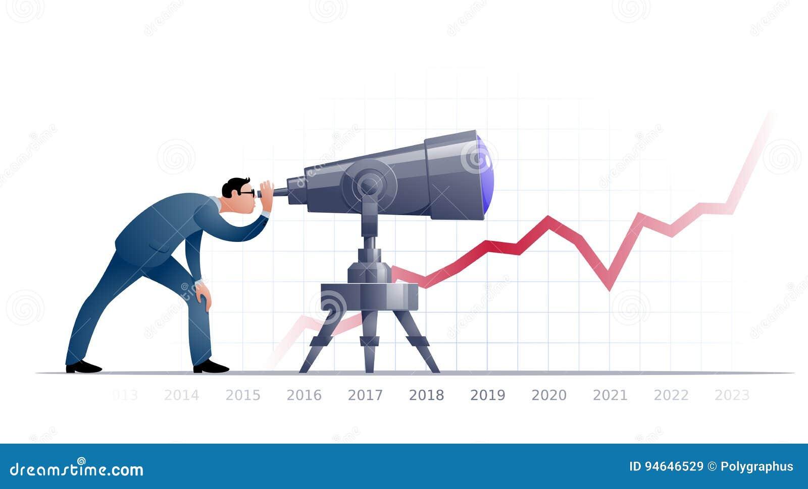 Hombre De Negocios Con El Telescopio Explorating El Futuro