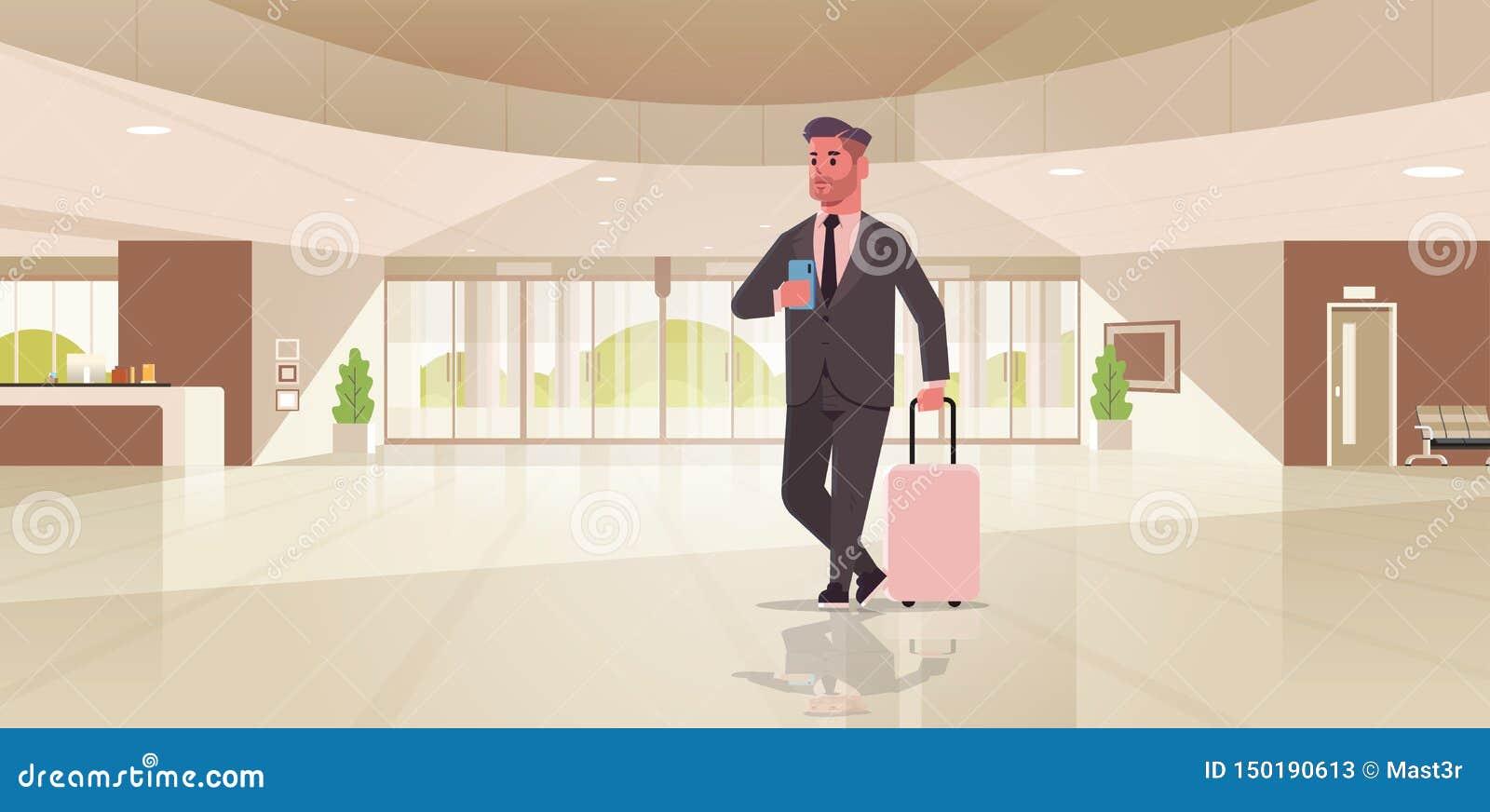 Hombre de negocios con la situación moderna del individuo de la maleta de la tenencia del hombre de negocios de área de recepción