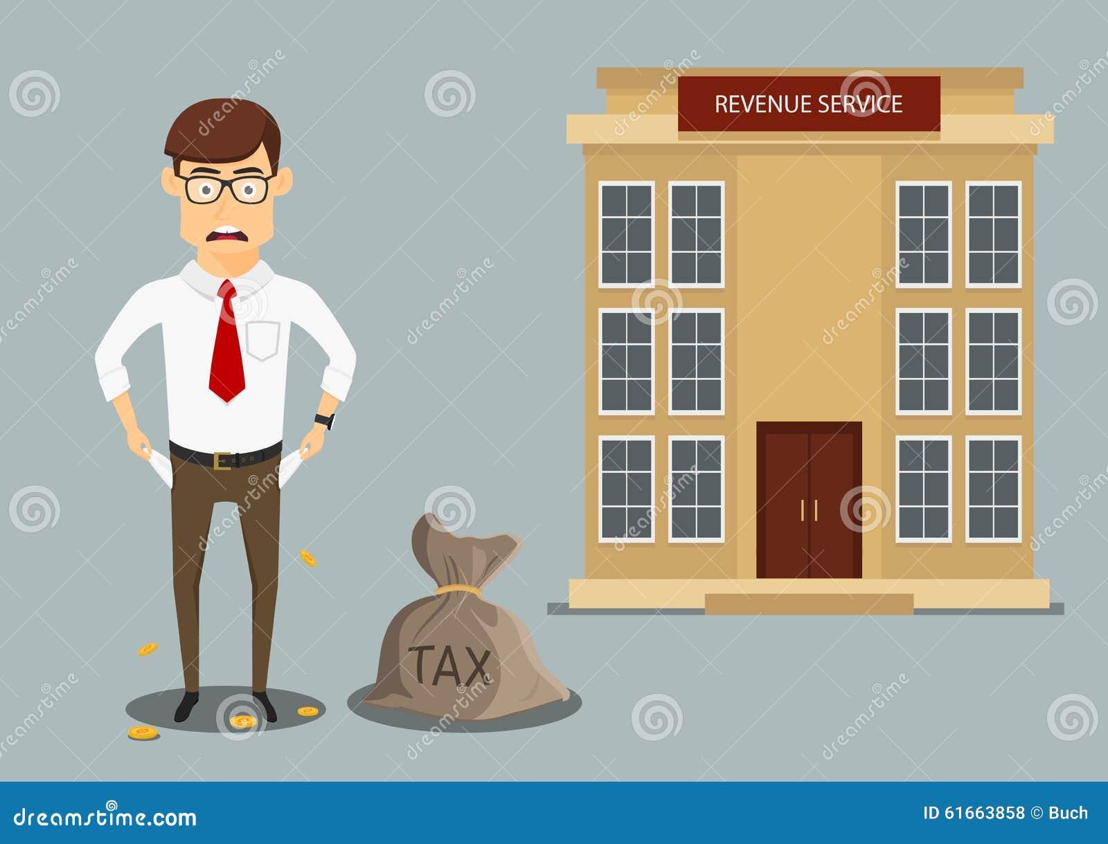 Hombre de negocios con los bolsillos vacíos después de pagar impuestos