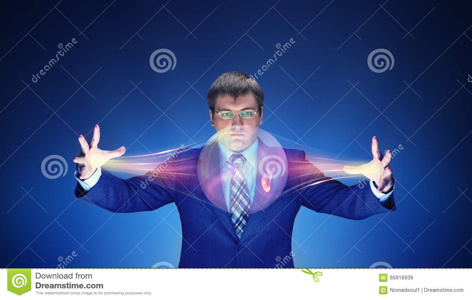 Hombre de negocios con magia