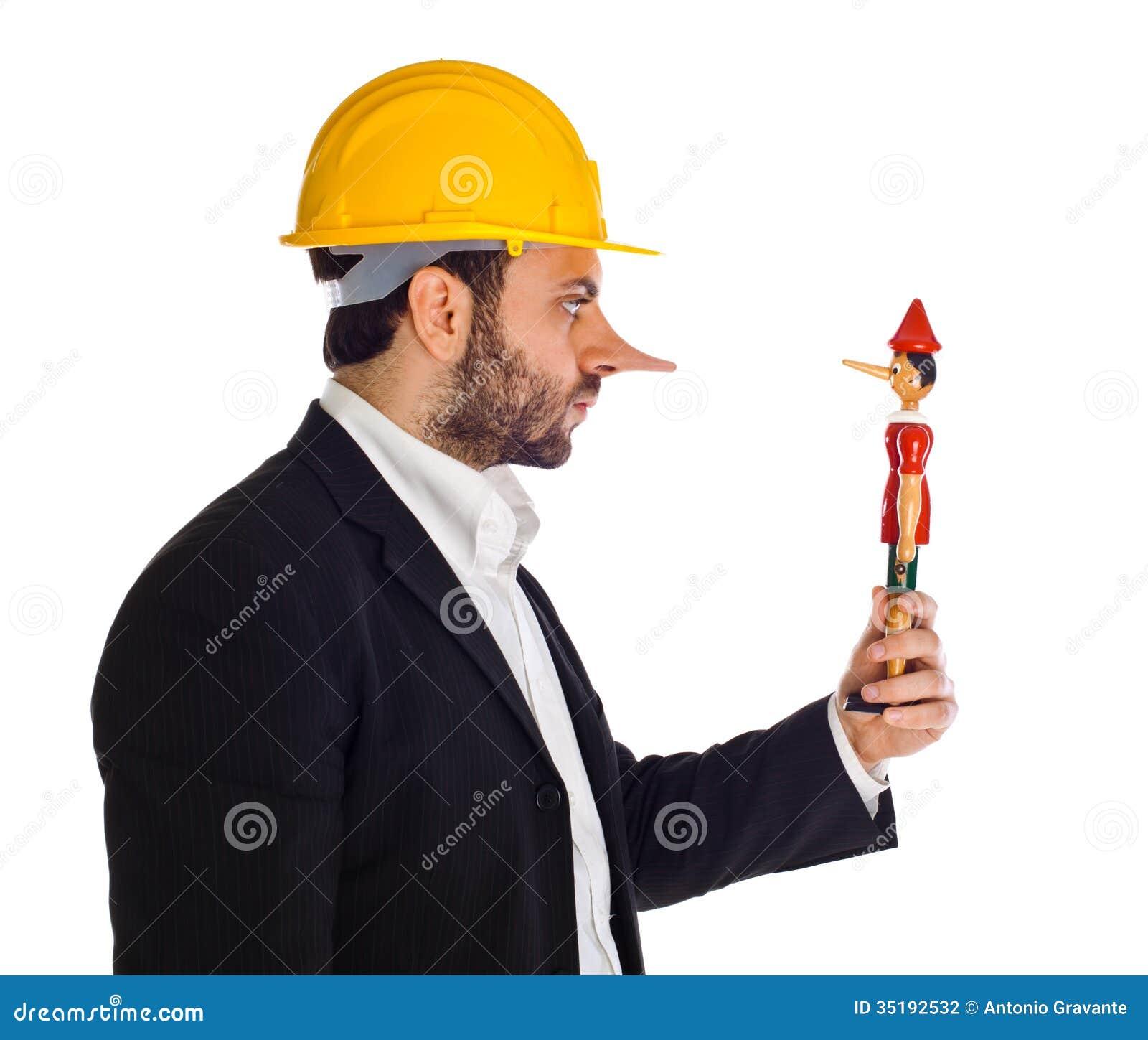 Hombre de negocios con Pinocchio