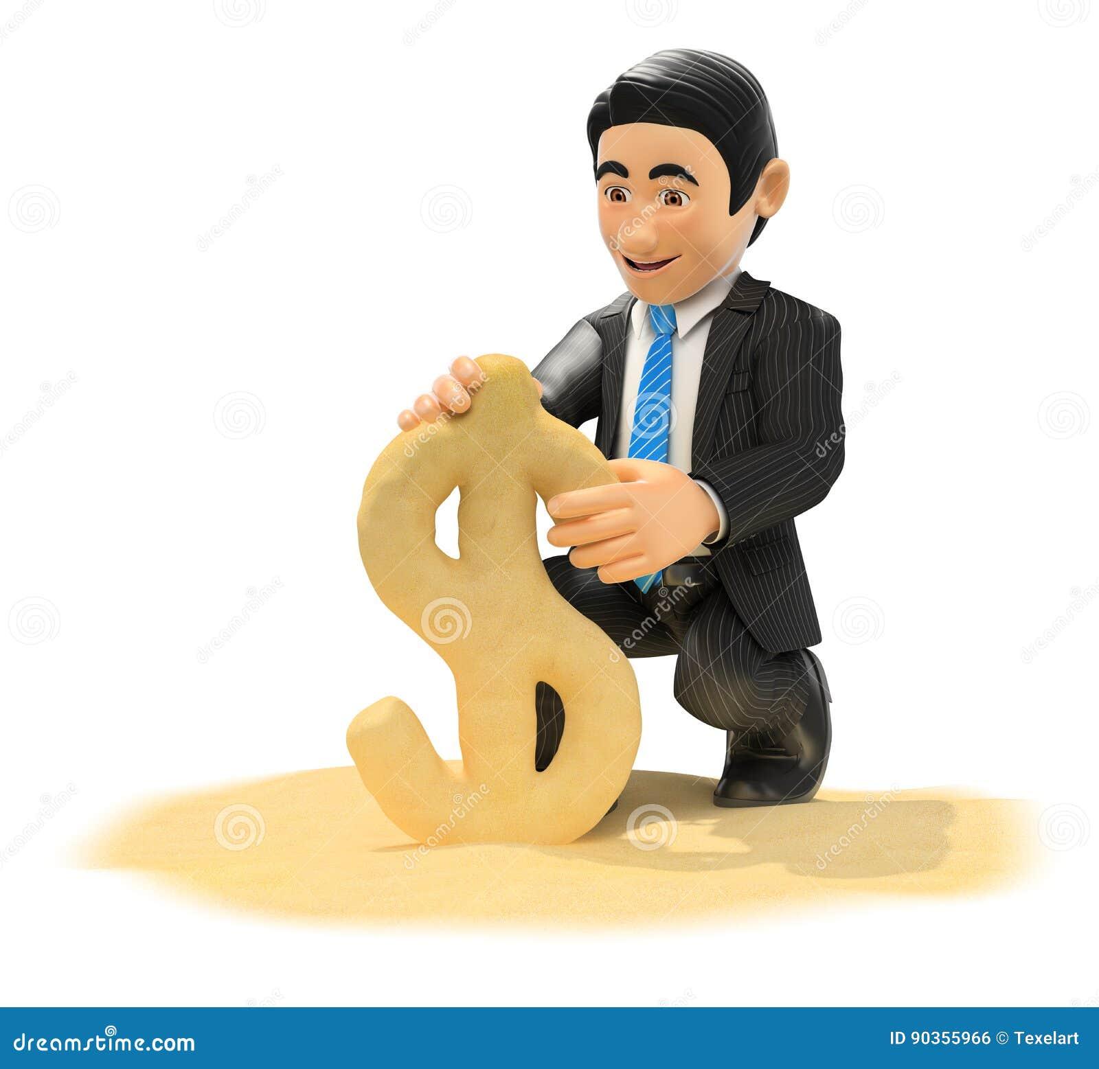 Hombre de negocios 3D que hace símbolo del dólar con la arena de la playa