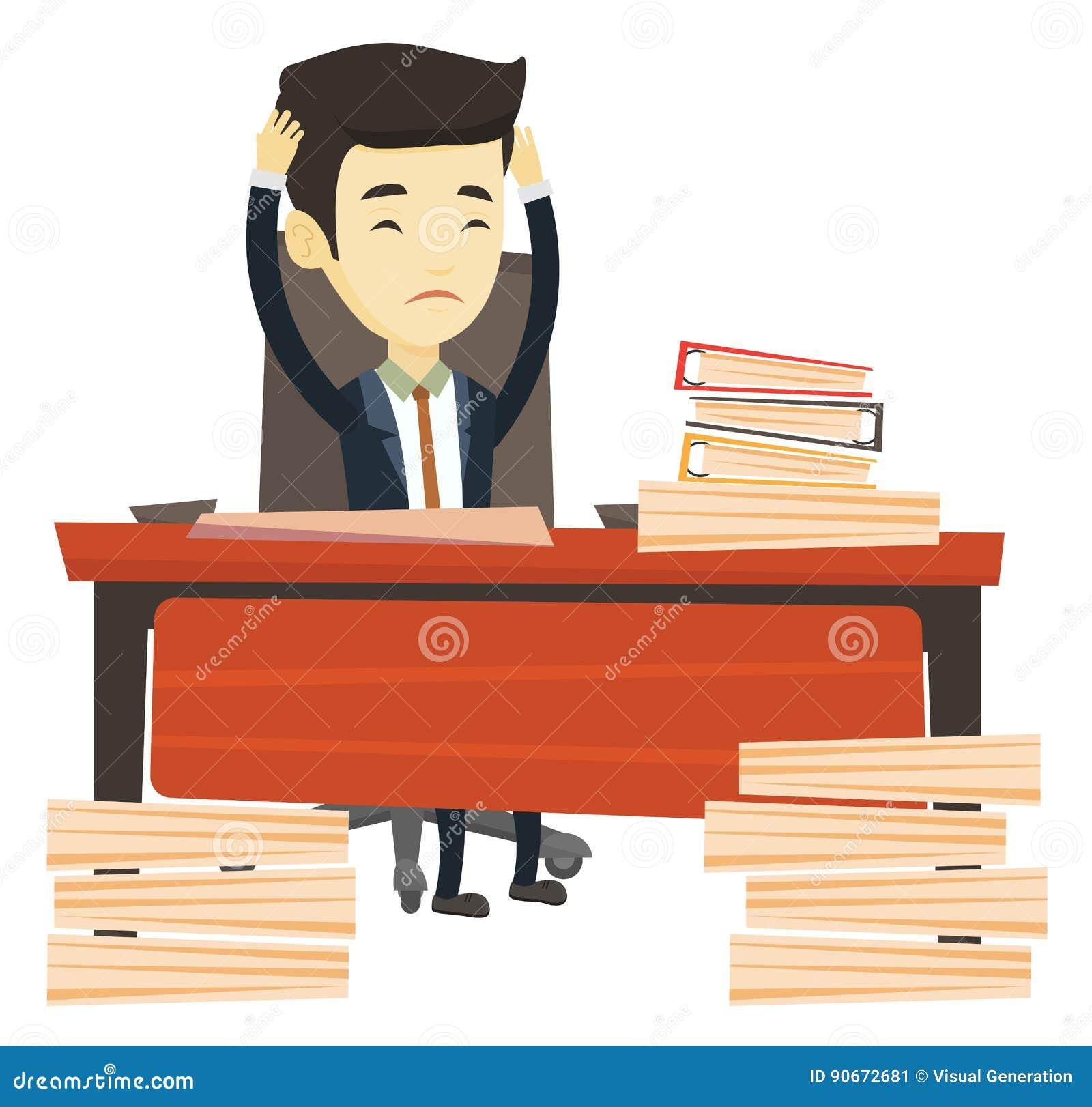 Hombre de negocios de la desesperación que trabaja en oficina