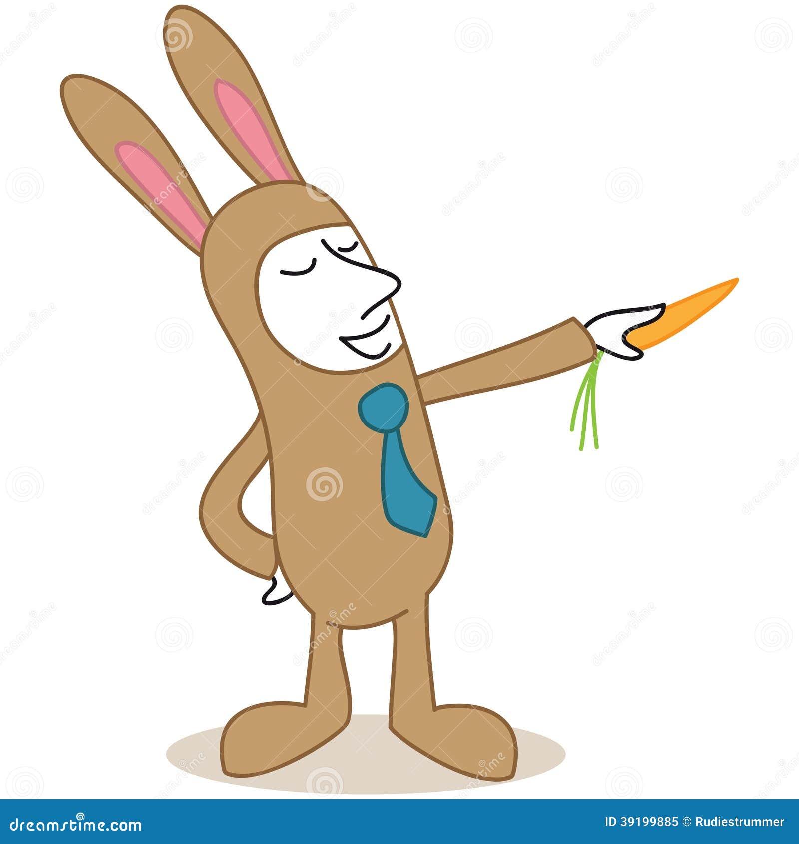 Hombre de negocios de la historieta vestido encima de señalar del conejito de pascua