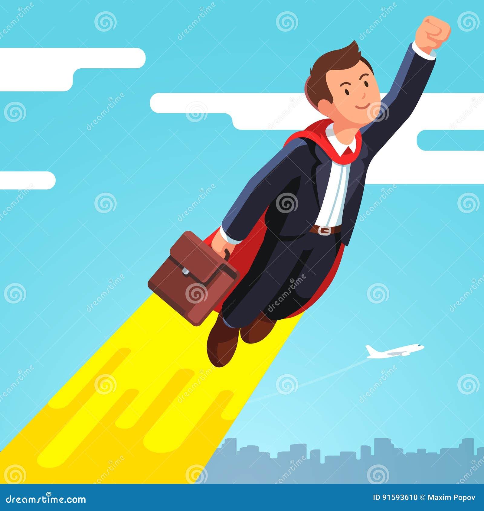 Hombre de negocios del super héroe en el vuelo del cabo en el cielo