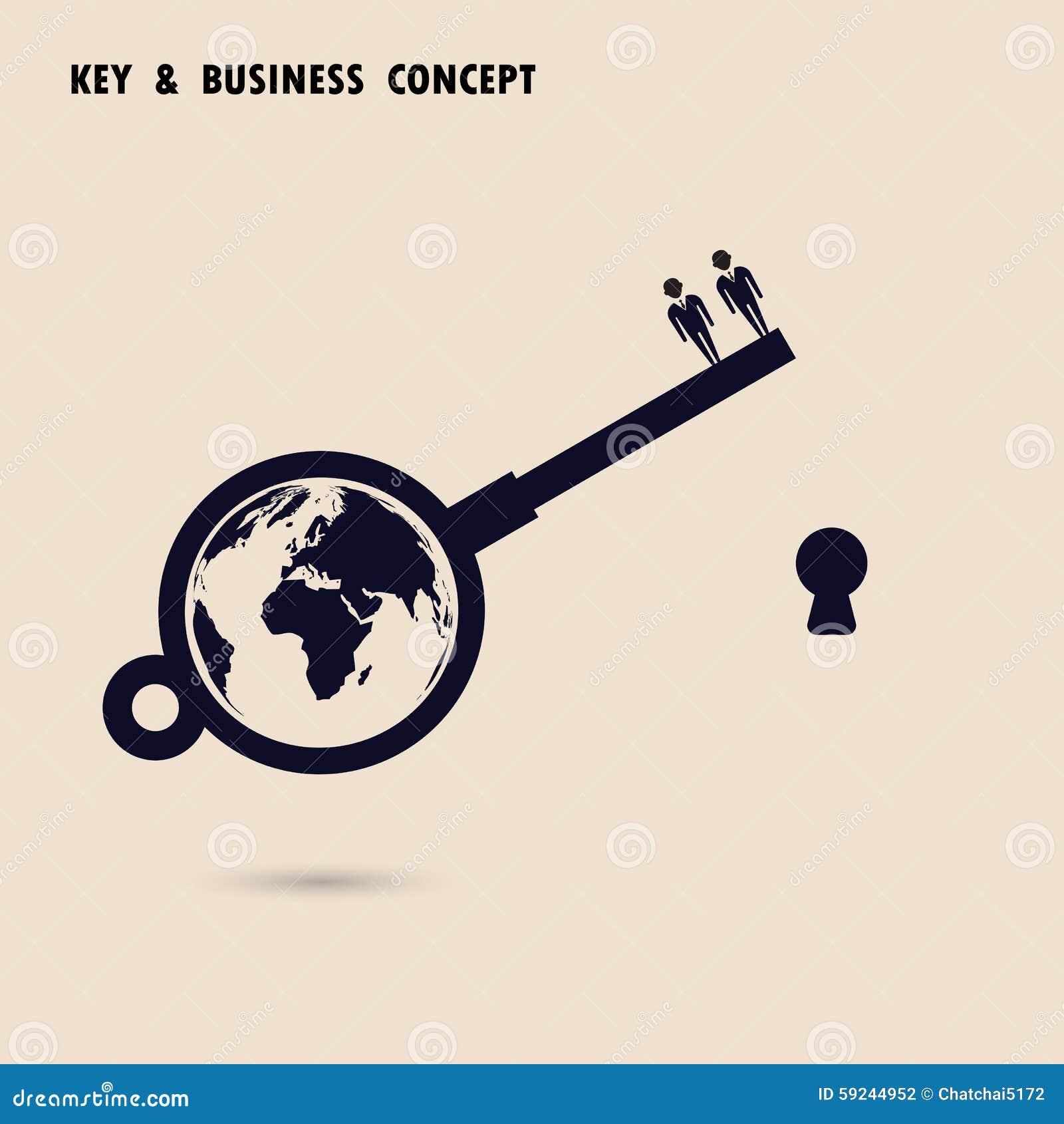 Hombre de negocios dos con símbolo de la llave del mundo Solución del asunto global