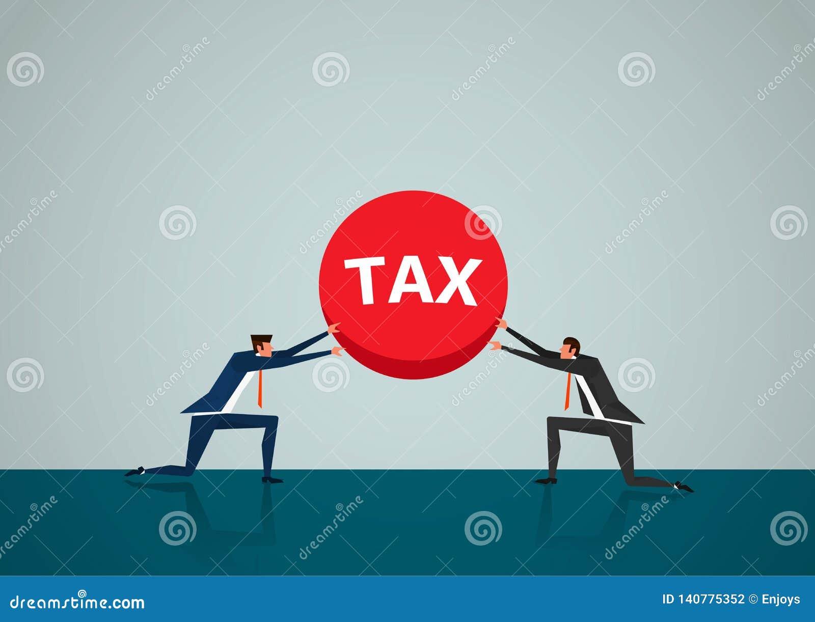 Hombre de negocios dos que levanta al ilustrador pesado del impuesto