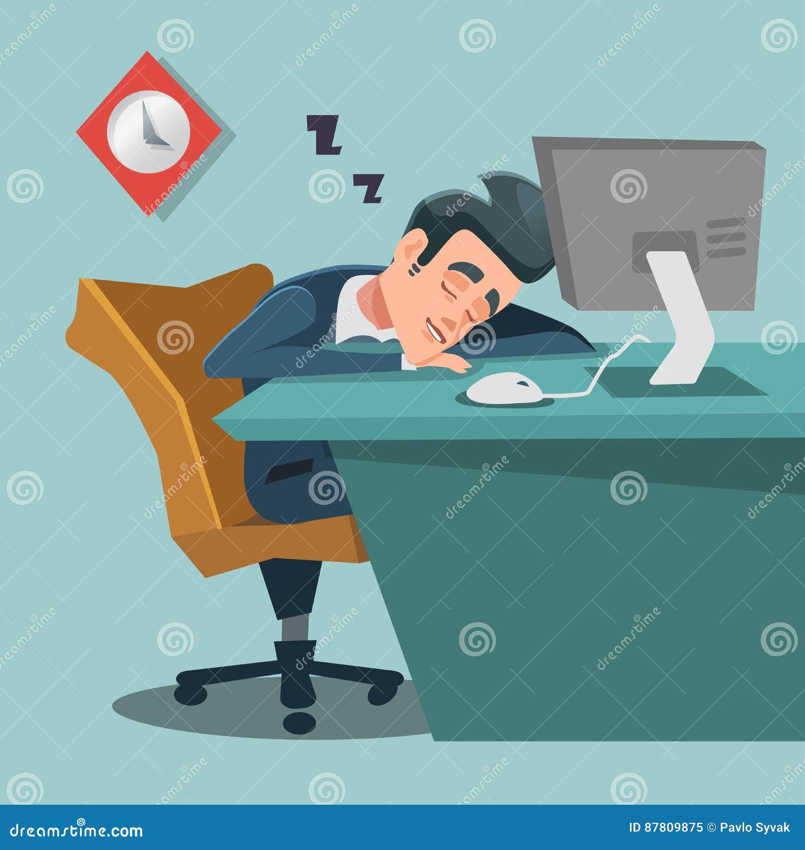 Hombre de negocios durmiente Hombre de negocios cansado en el trabajo