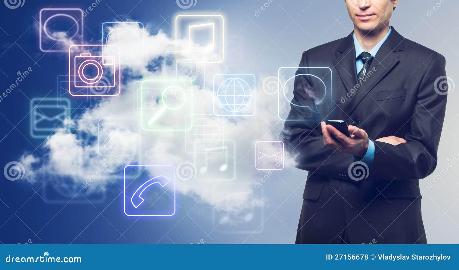 Hombre de negocios e iconos de las aplicaciones