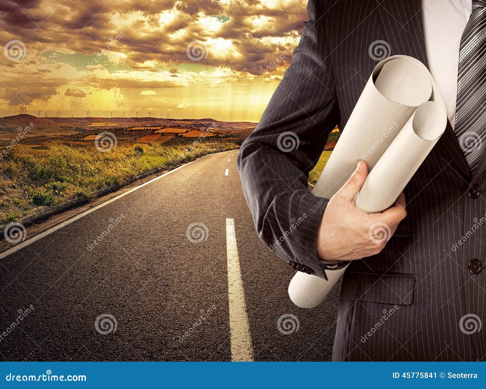 Hombre de negocios en el camino