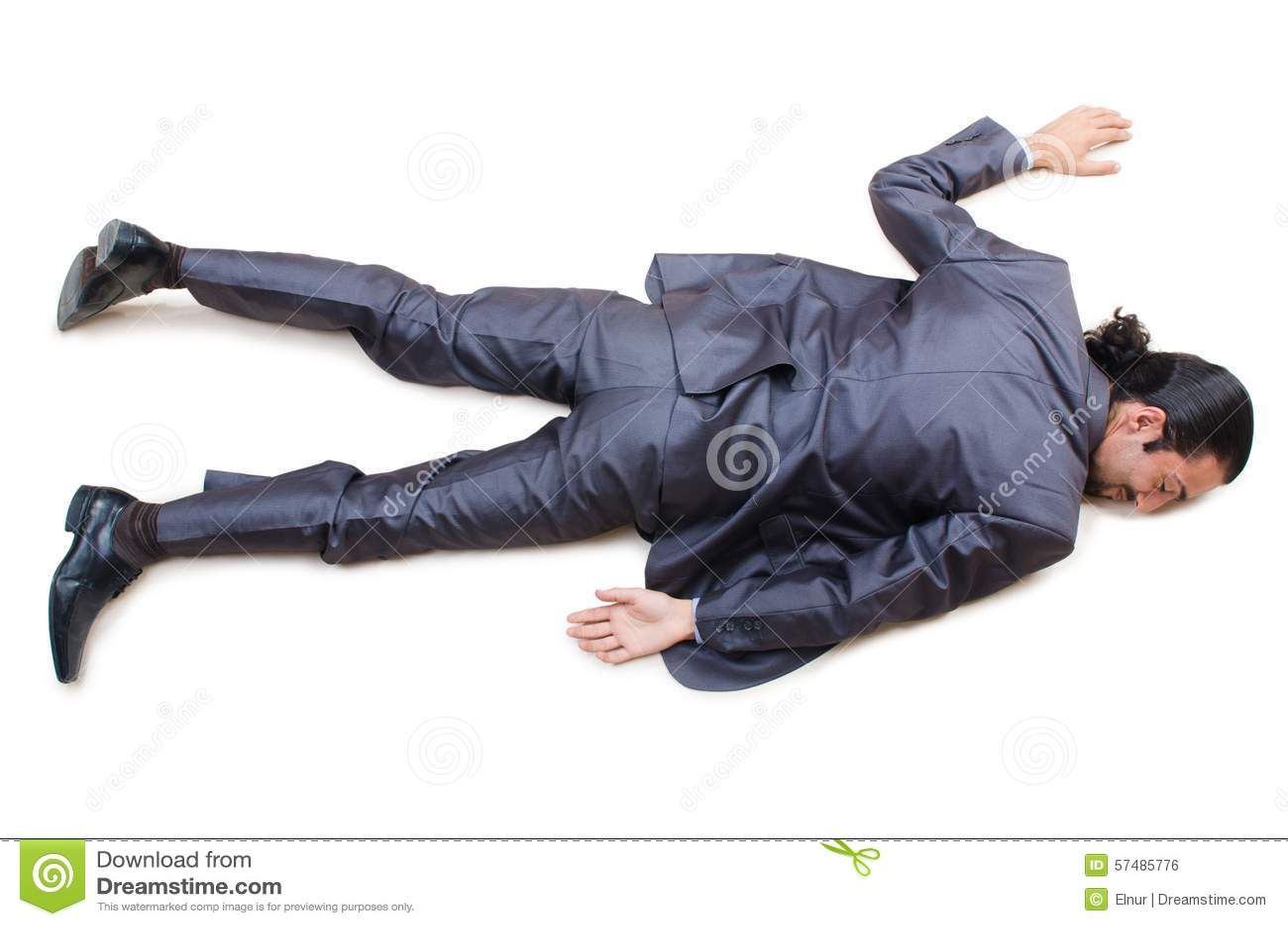Hombre de negocios en el piso aislado en blanco