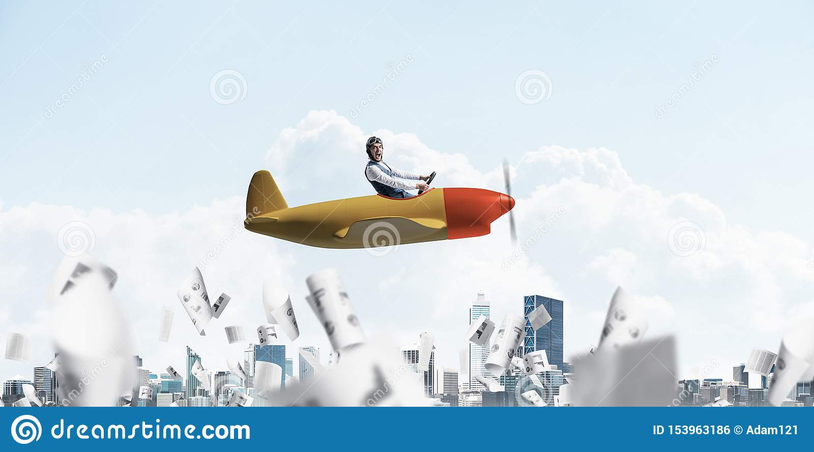 Hombre de negocios en el sombrero del aviador que conduce el avi?n