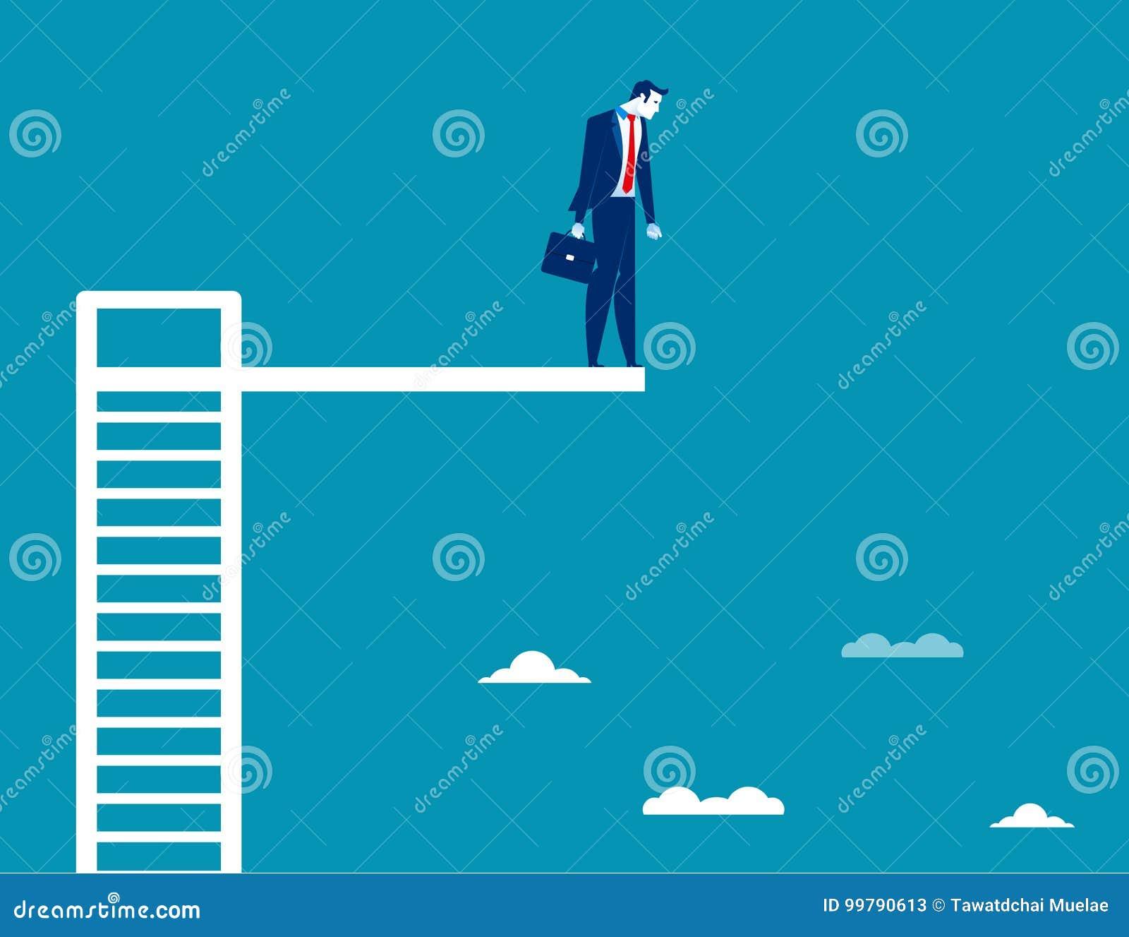 Hombre de negocios en el tablero de salto Vector del negocio del concepto