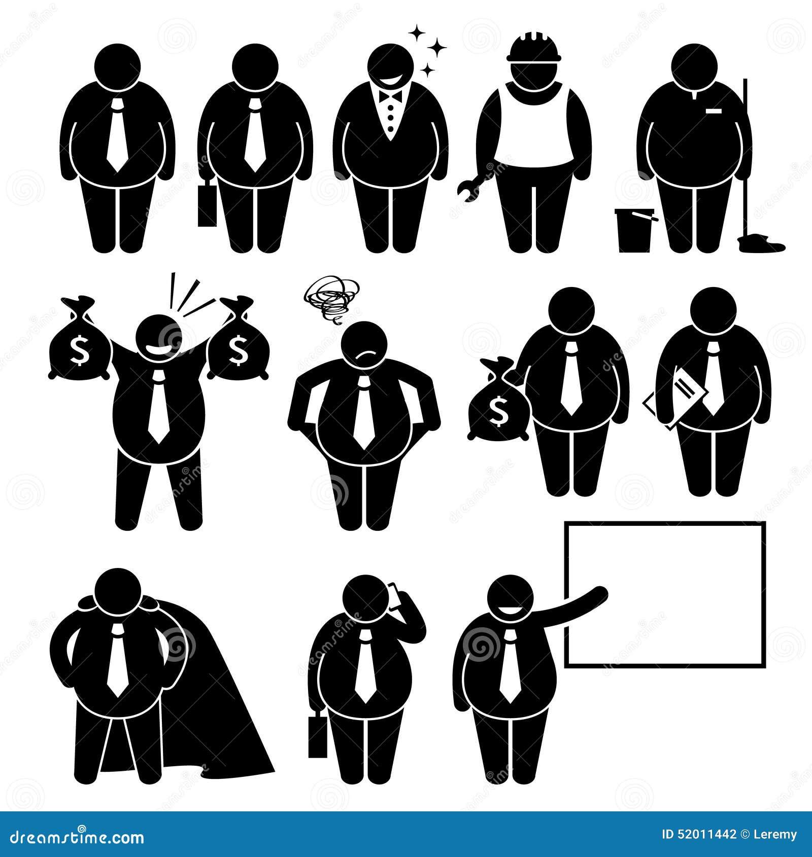 Hombre de negocios gordo Business Man Worker Cliparts