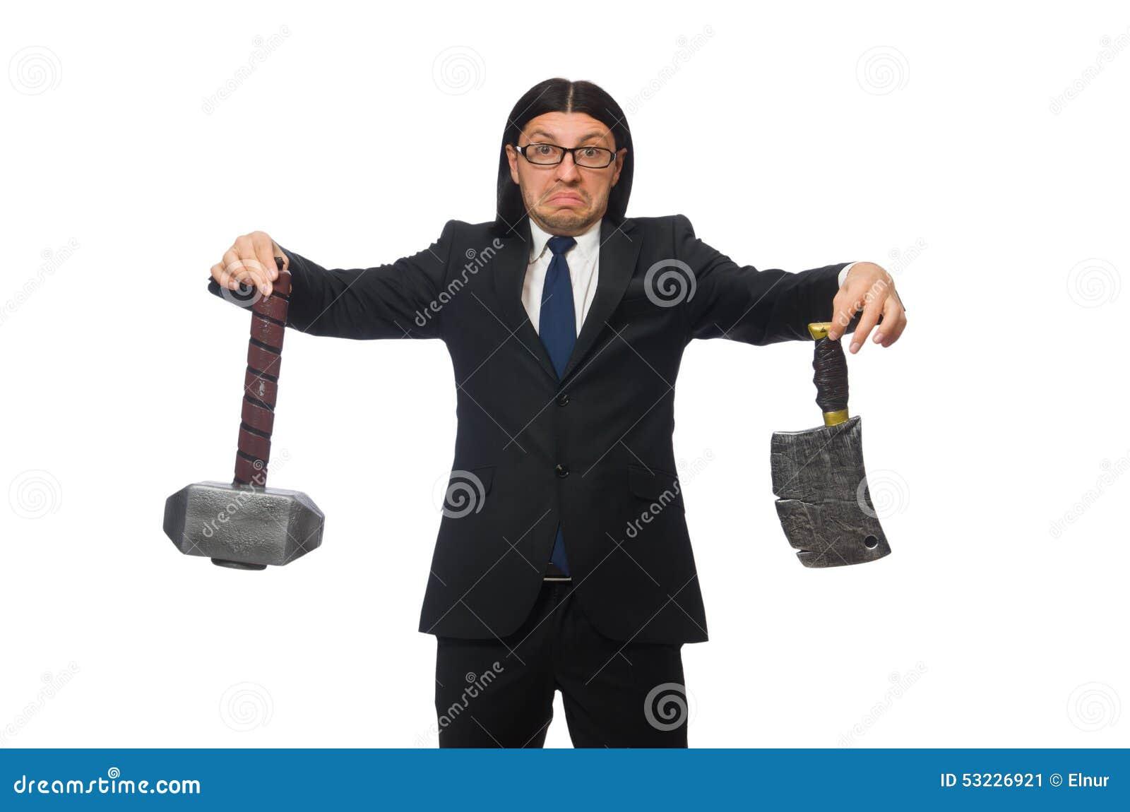 Hombre de negocios hermoso que sostiene el martillo aislado encendido