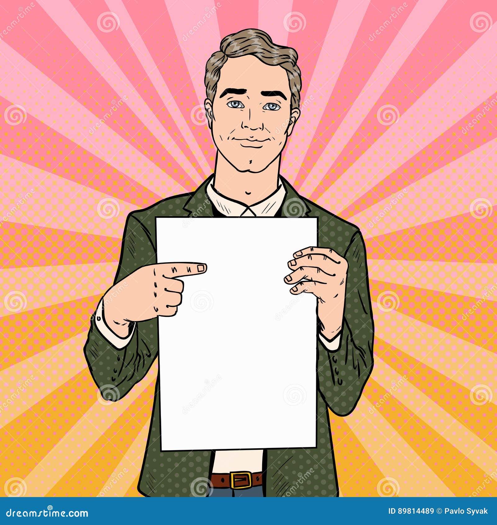 Hombre de negocios joven Pointing en la hoja del papel en blanco Presentación del asunto Ejemplo retro del arte pop