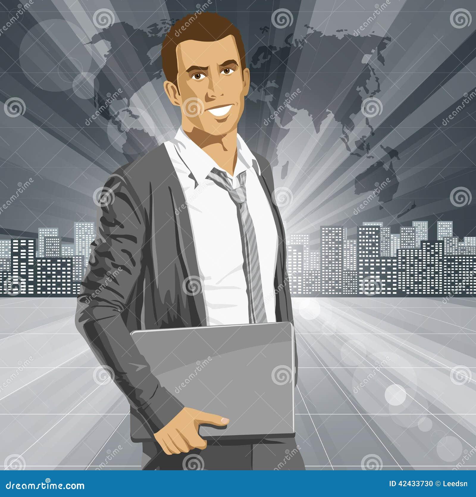 Hombre de negocios With Laptop del vector